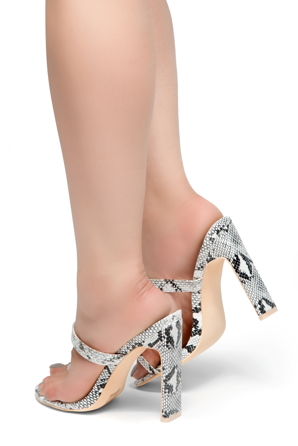 b8b45425a HerStyle Sasseta- Toe Ring Sandal with simple single vamp Strap, open toe,  flat Stiletto Heel (Snake)