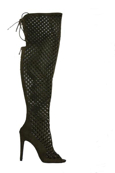 1aa3148ad5c Women s Olive Alerine Faux Suede Cut Out Thigh High Gladiator