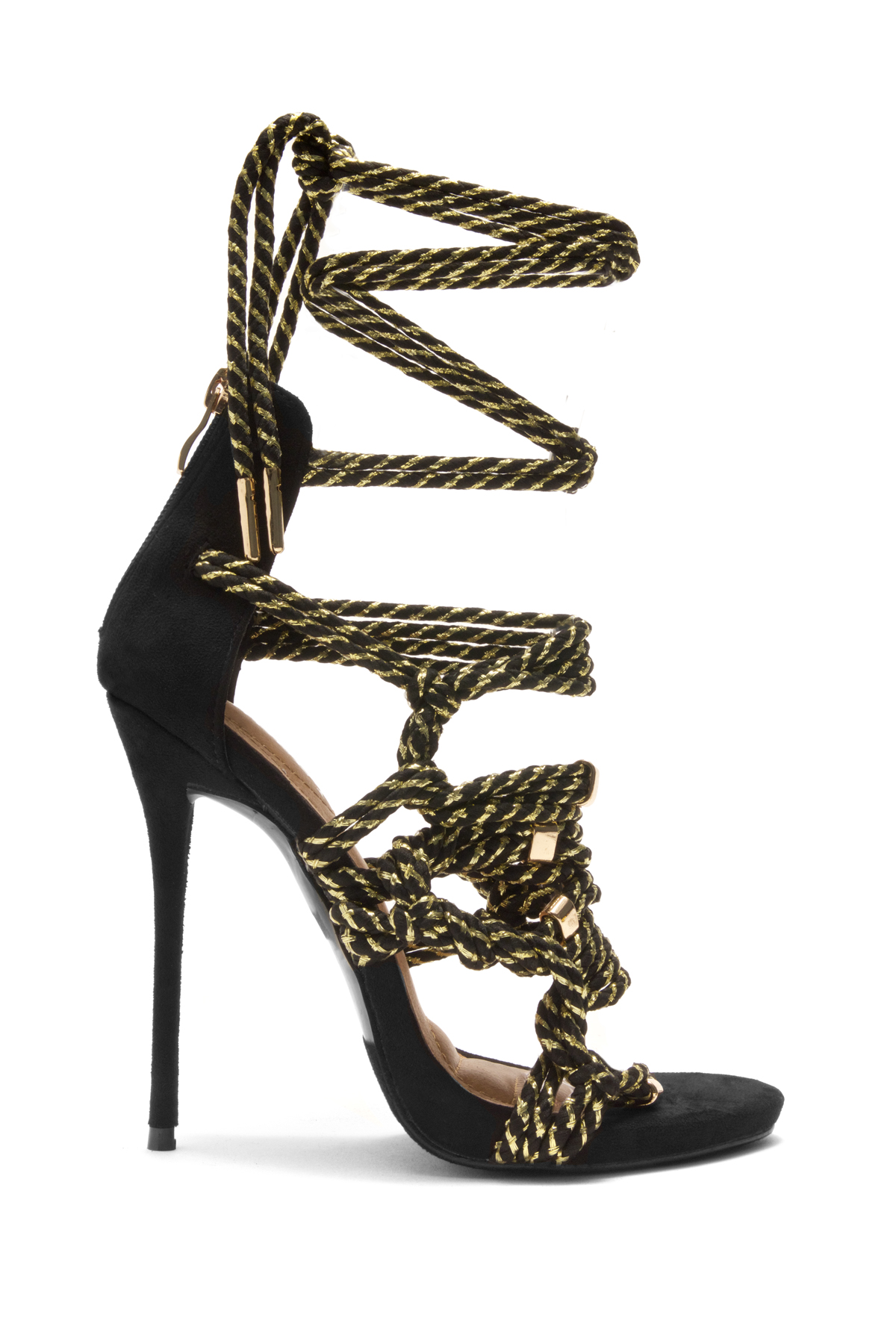 April Black Rope Detail stiletto Heeled Sandals (Black/Gold)