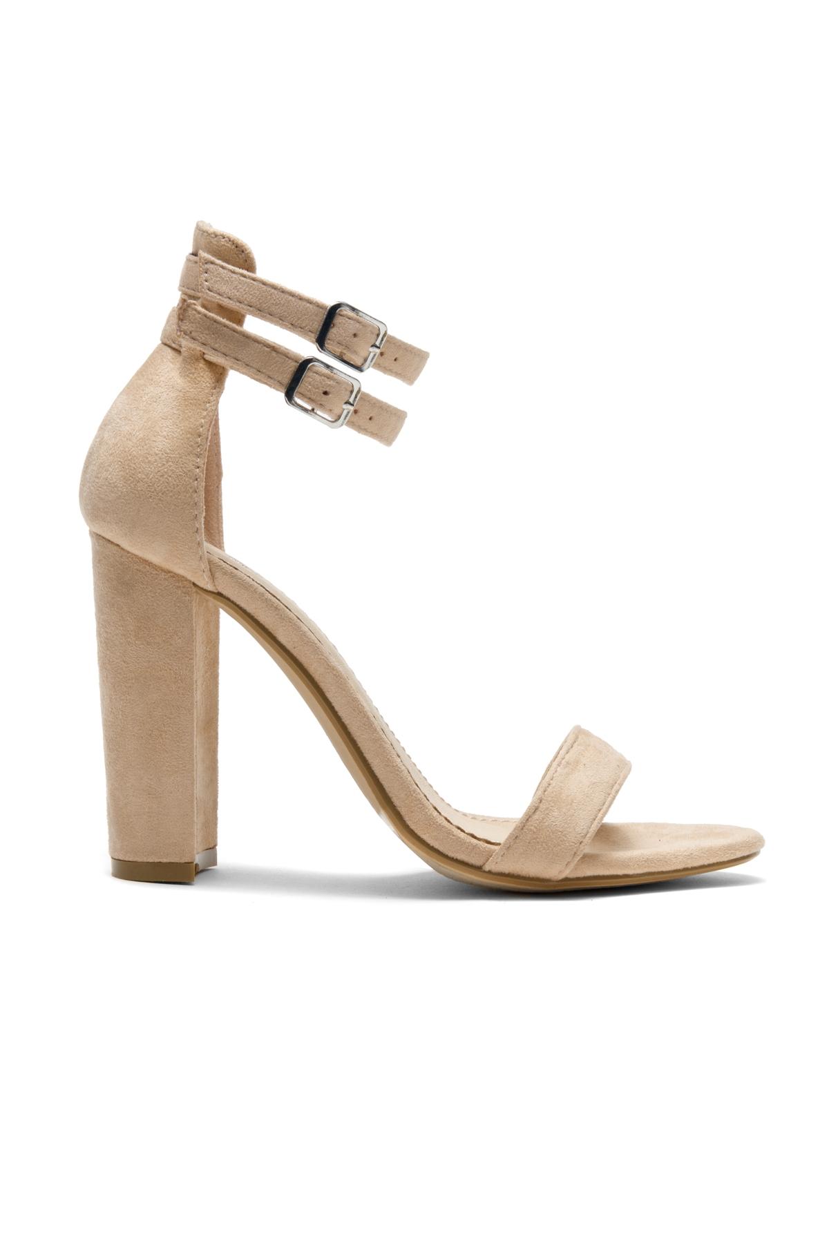 Berttie Open Toe, Ankle Strap, Chunky Heel (Tan)