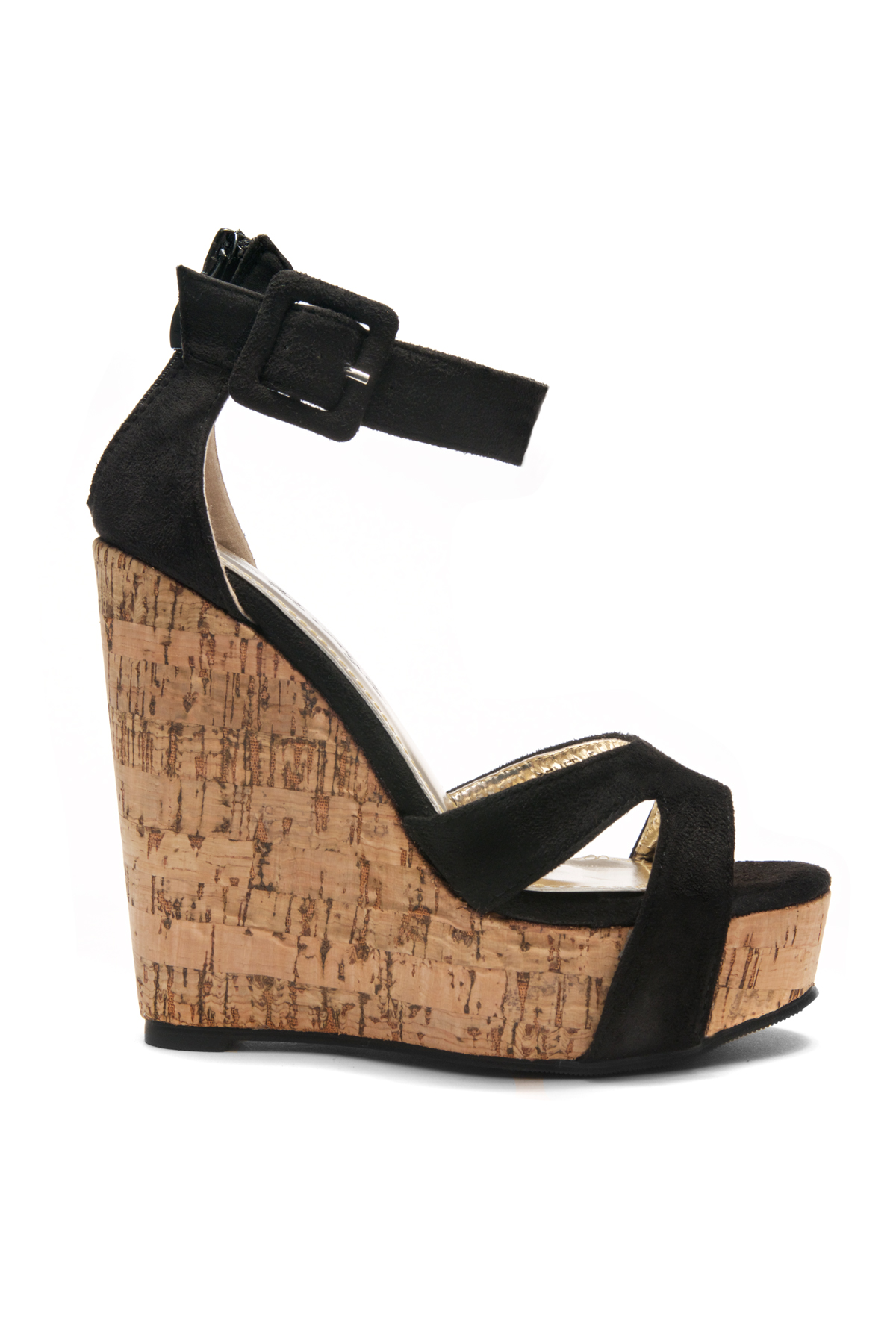 40056b8593a7 Women s Black Manmade Brenee 6-inch Cork Wedge Sandals with Bold Ankle  Buckle