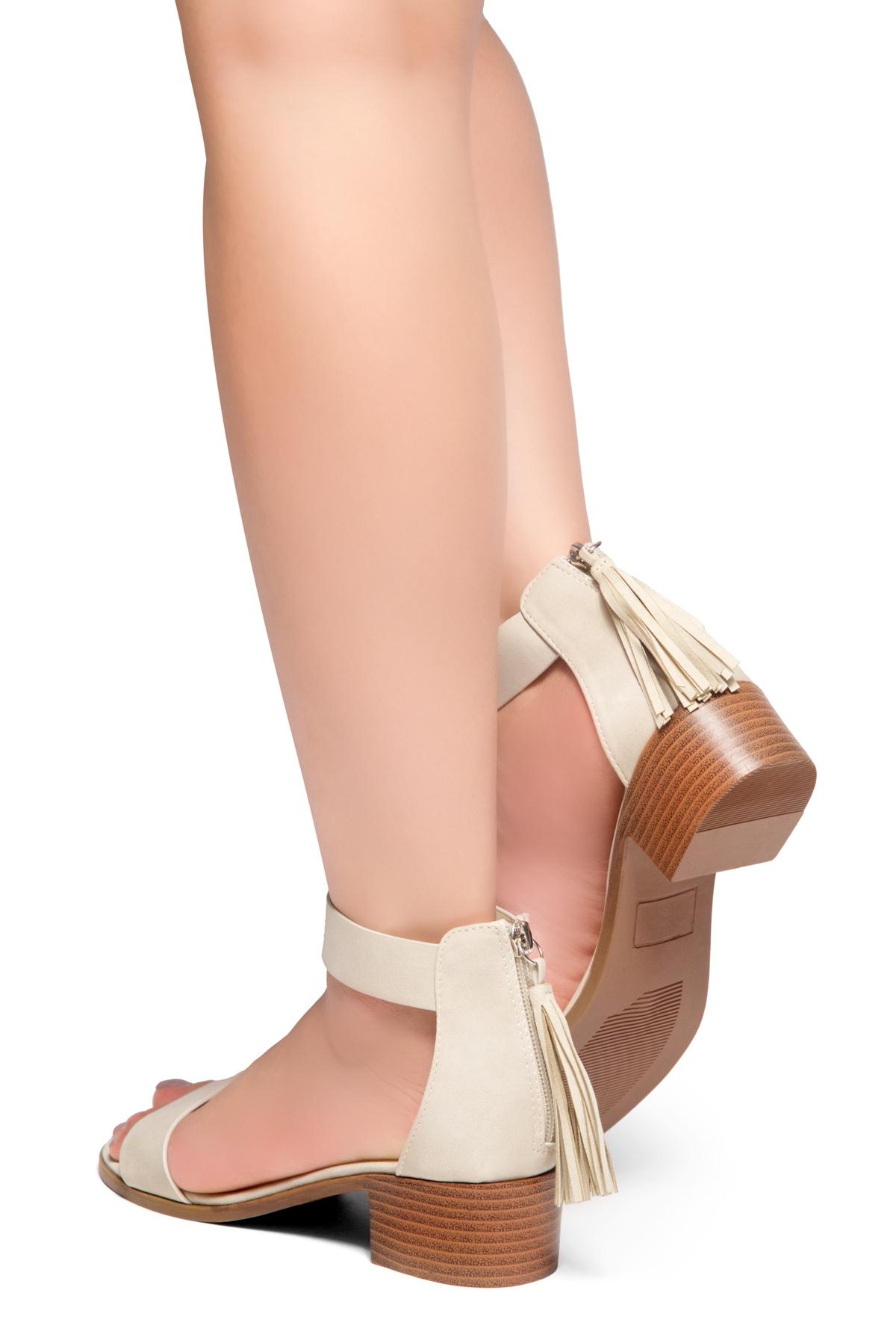 ece189b5187 HerStyle Bruefly- Low Block Heel Back Zipper with Tassels Sandal (Khaki)