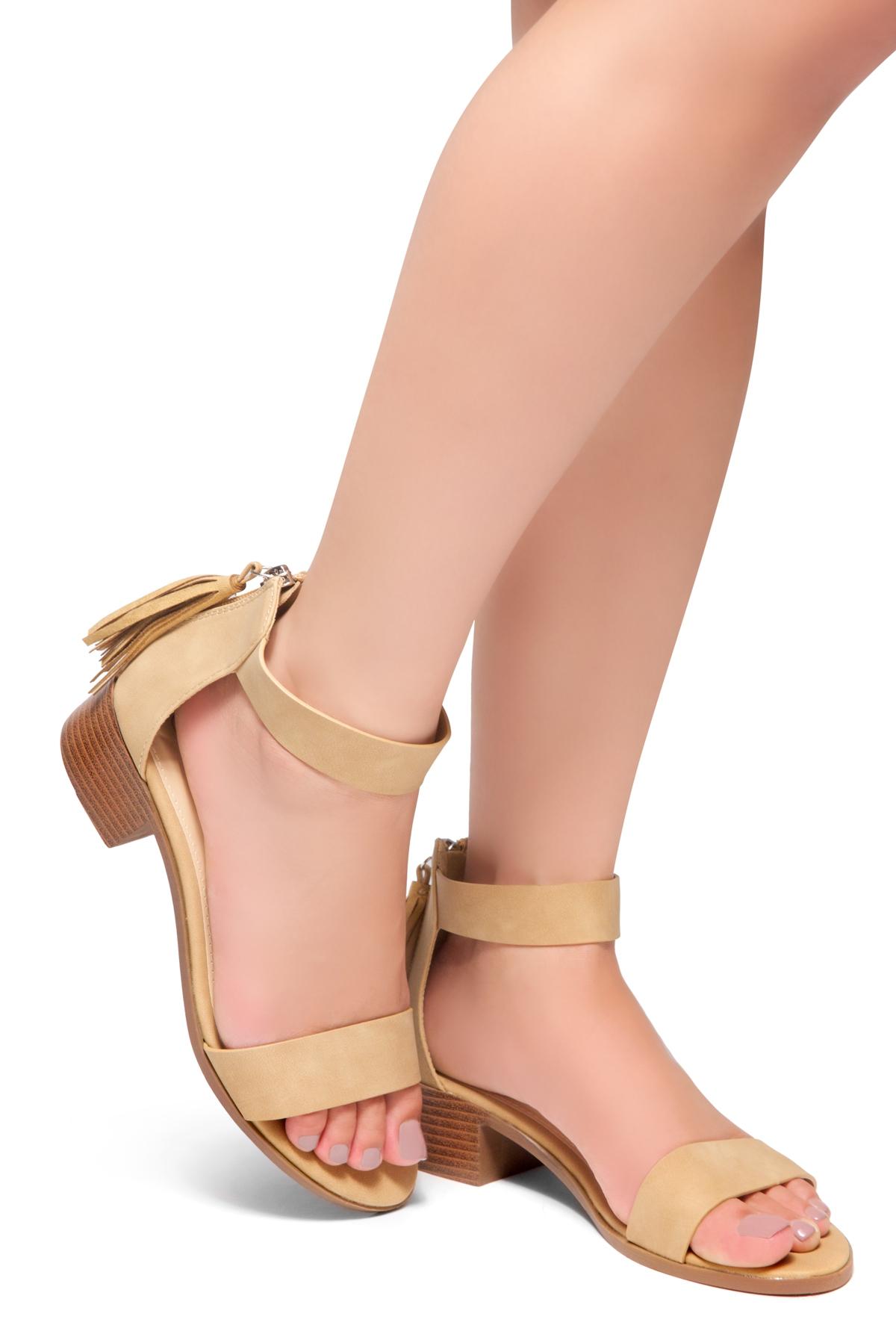 70416863d3e HerStyle Bruefly- Low Block Heel Back Zipper with Tassels Sandal (Tan)