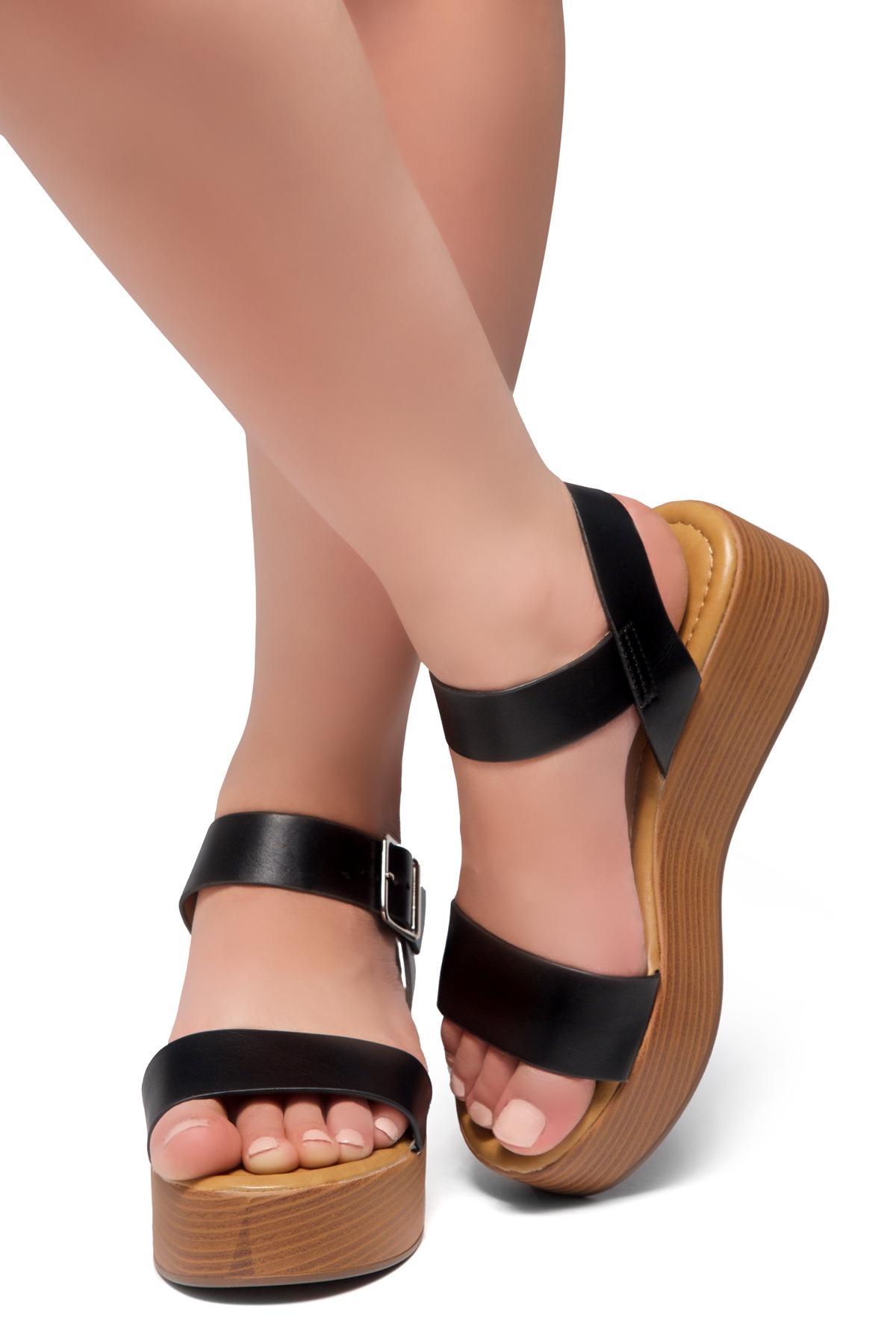 Ankle Carita Strap Herstyle Platform Open Wedgeblackwood Toe eDH9WY2IE