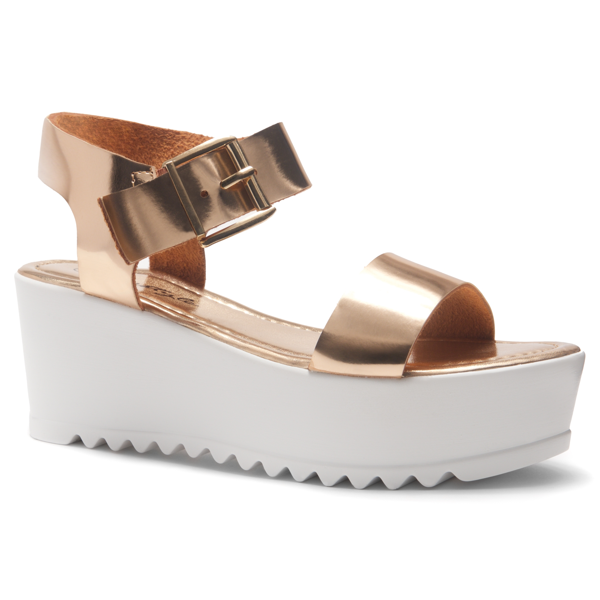 f21832381263 HerStyle Carita- Open Toe Ankle Strap Platform Wedge (RoseGold)