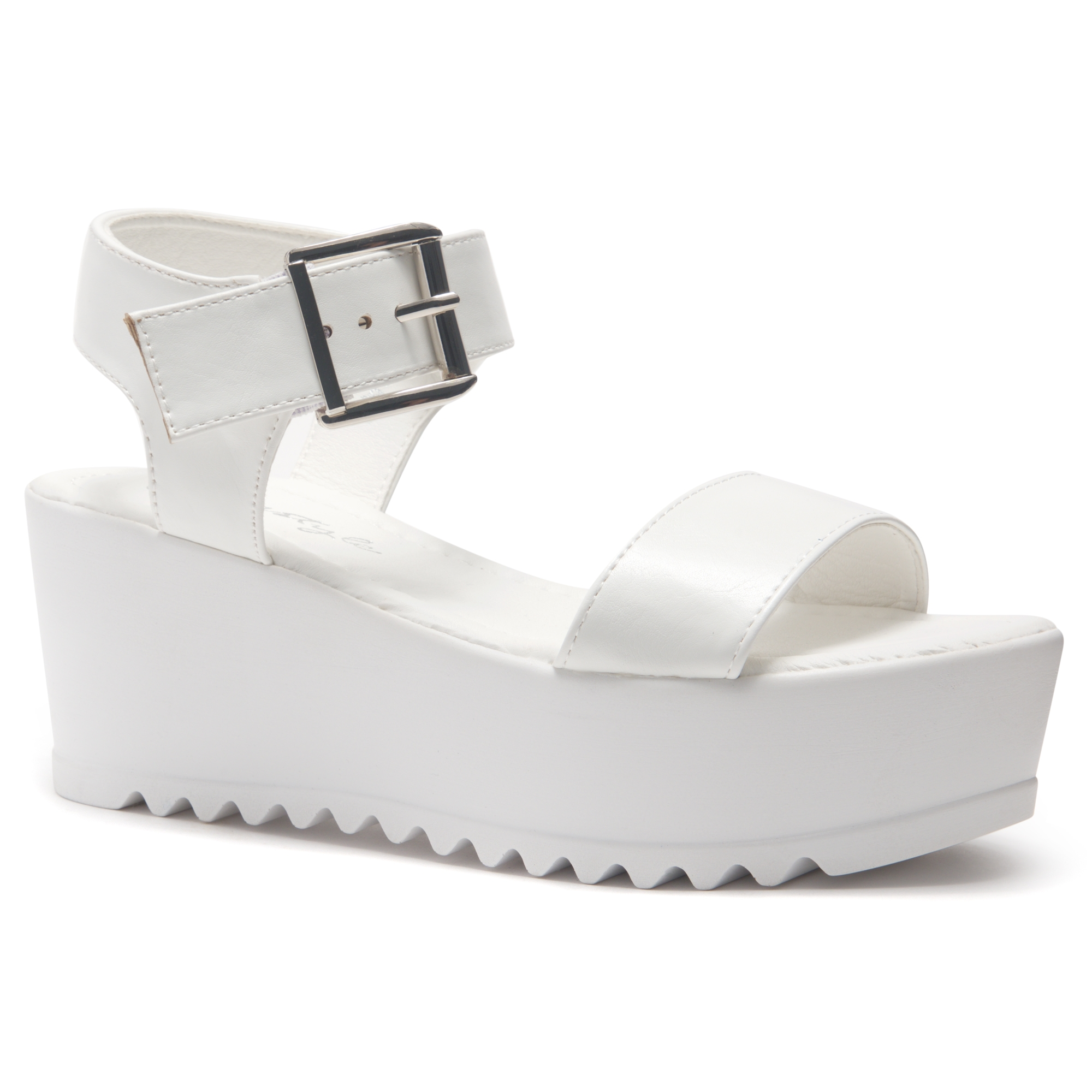 4b2f020fb34be HerStyle Carita- Open Toe Ankle Strap Platform Wedge (White)
