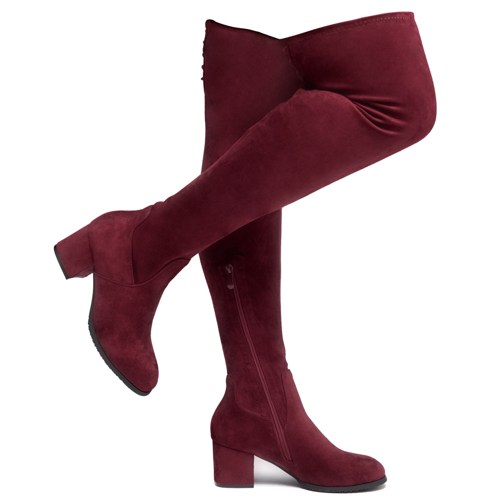 Womens Ladies Thigh High Riding Boots Over The Knee Casual Block Low Heel Shoes