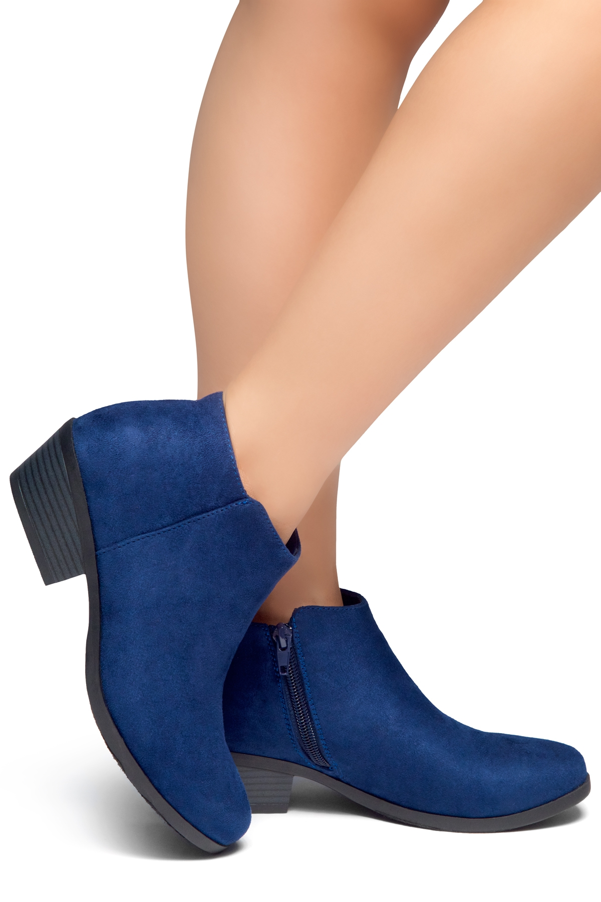 ea32b52a4e1 HerStyle Chatter- Low Stacked Heel Almond Toe Booties (Navy)