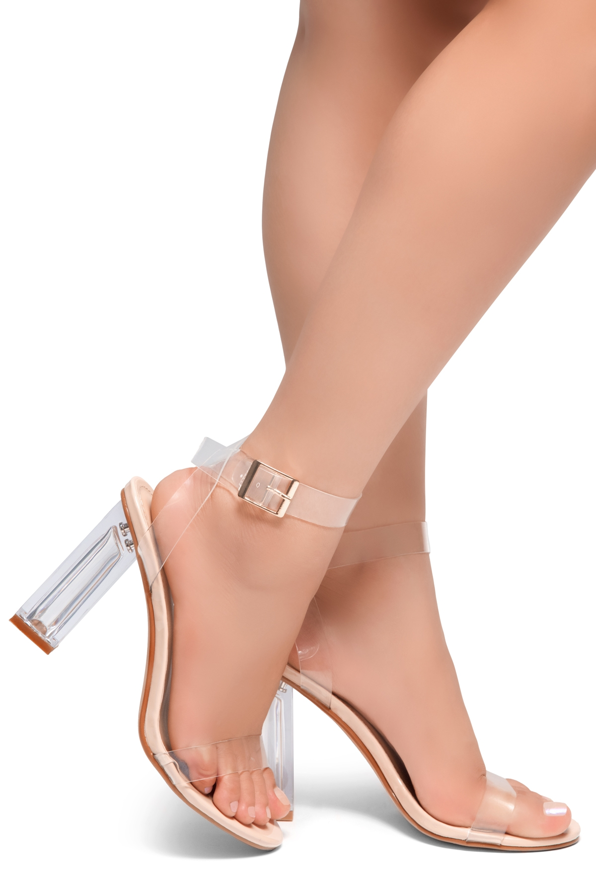 e0ce6890d74 HerStyle Cllaary Perspex heel, ankle strap with an adjustable buckle (Clear  Nude)
