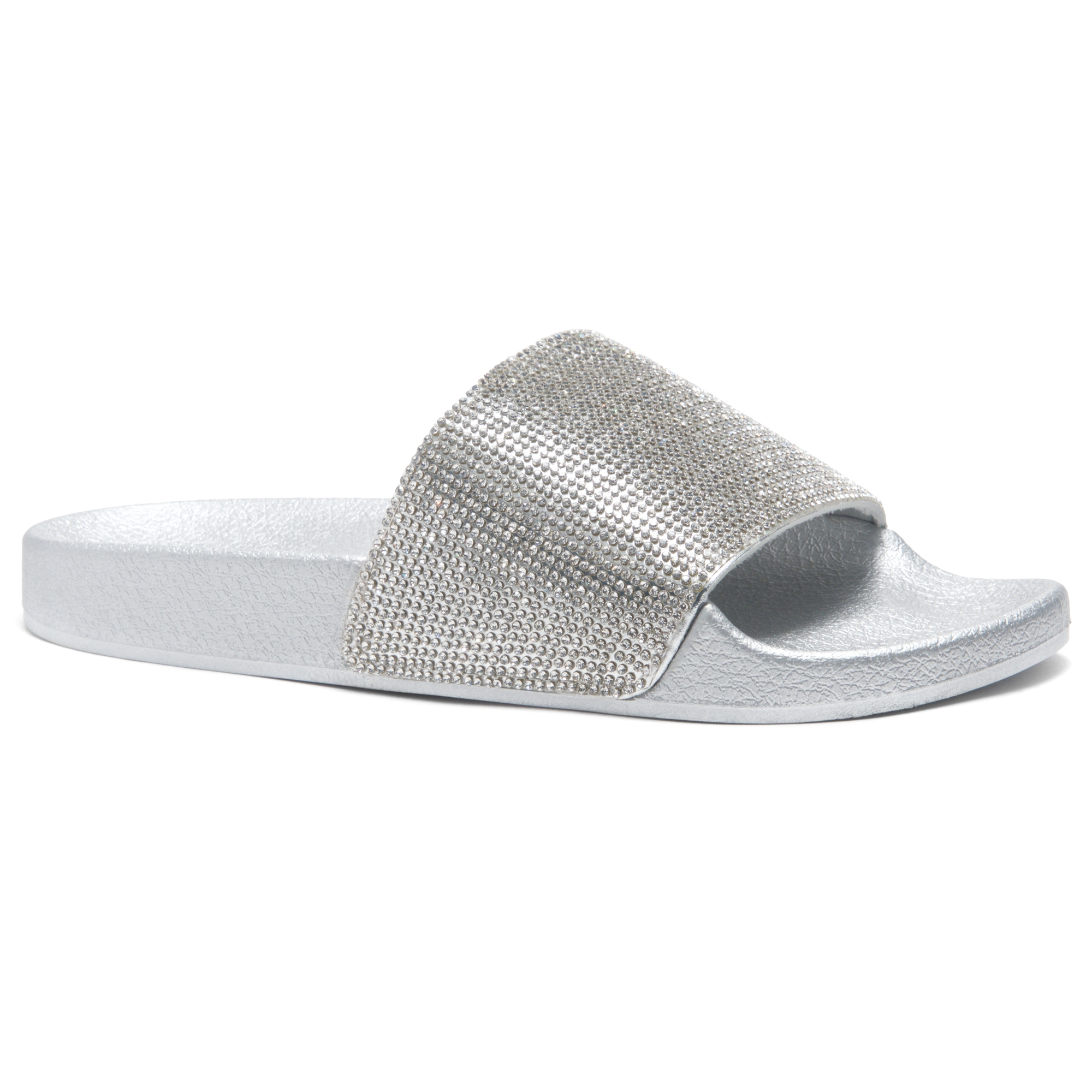 d1745049122d HerStyle Cosmic Open Toe Jewelled Embellishment Slide Sandal (Silver)