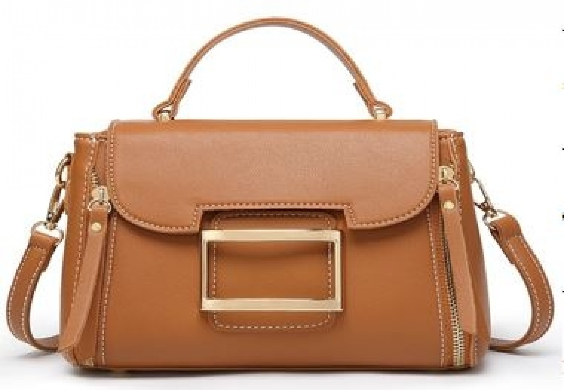 SZ14-LH2-16353- Women's Classic Leather Carry and Crossbody Bag (Brown)