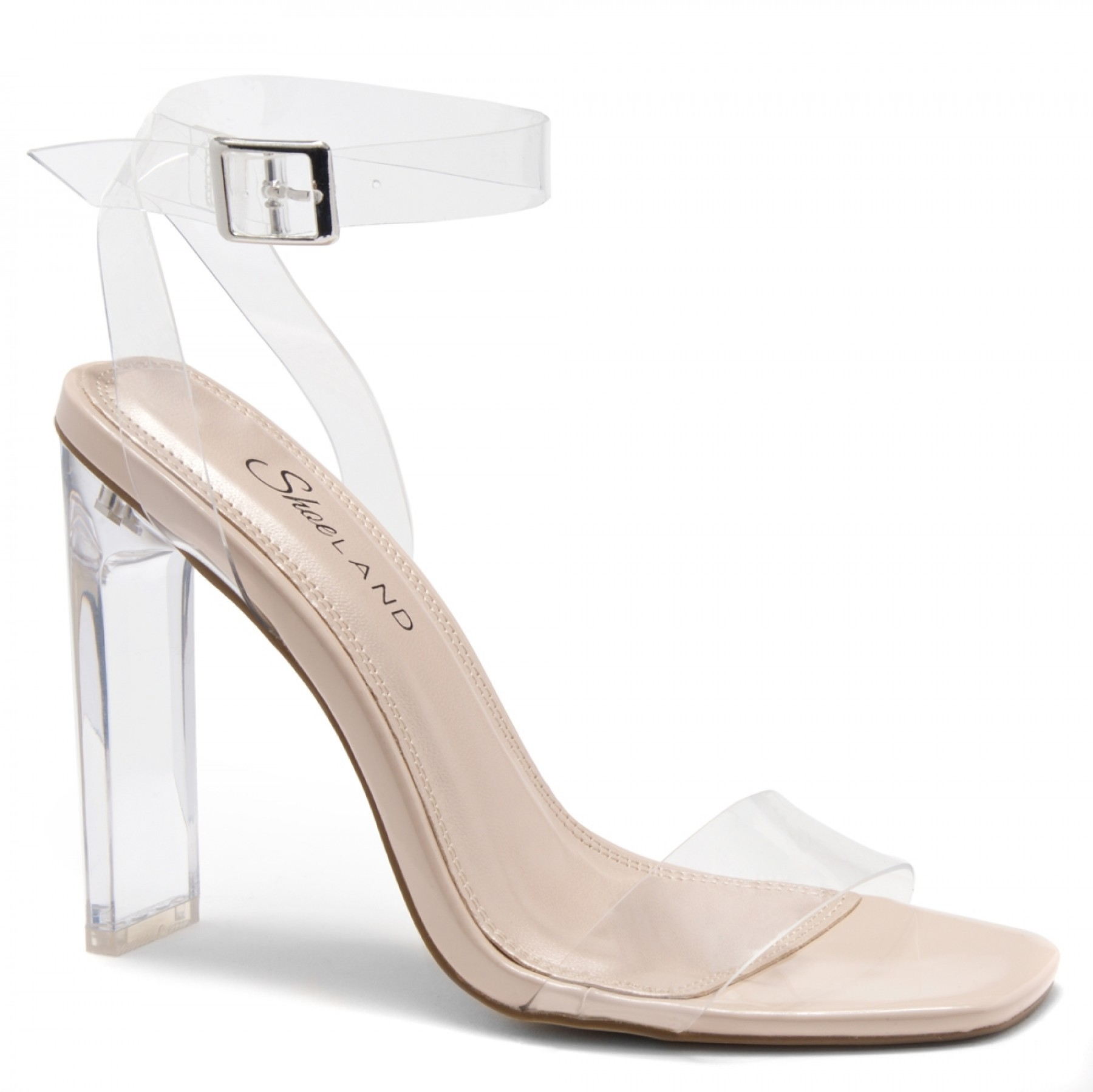 Shoe Land SL-Cllaary Perspex heel, ankle strap with an adjustable buckle (2010/ClearNude)