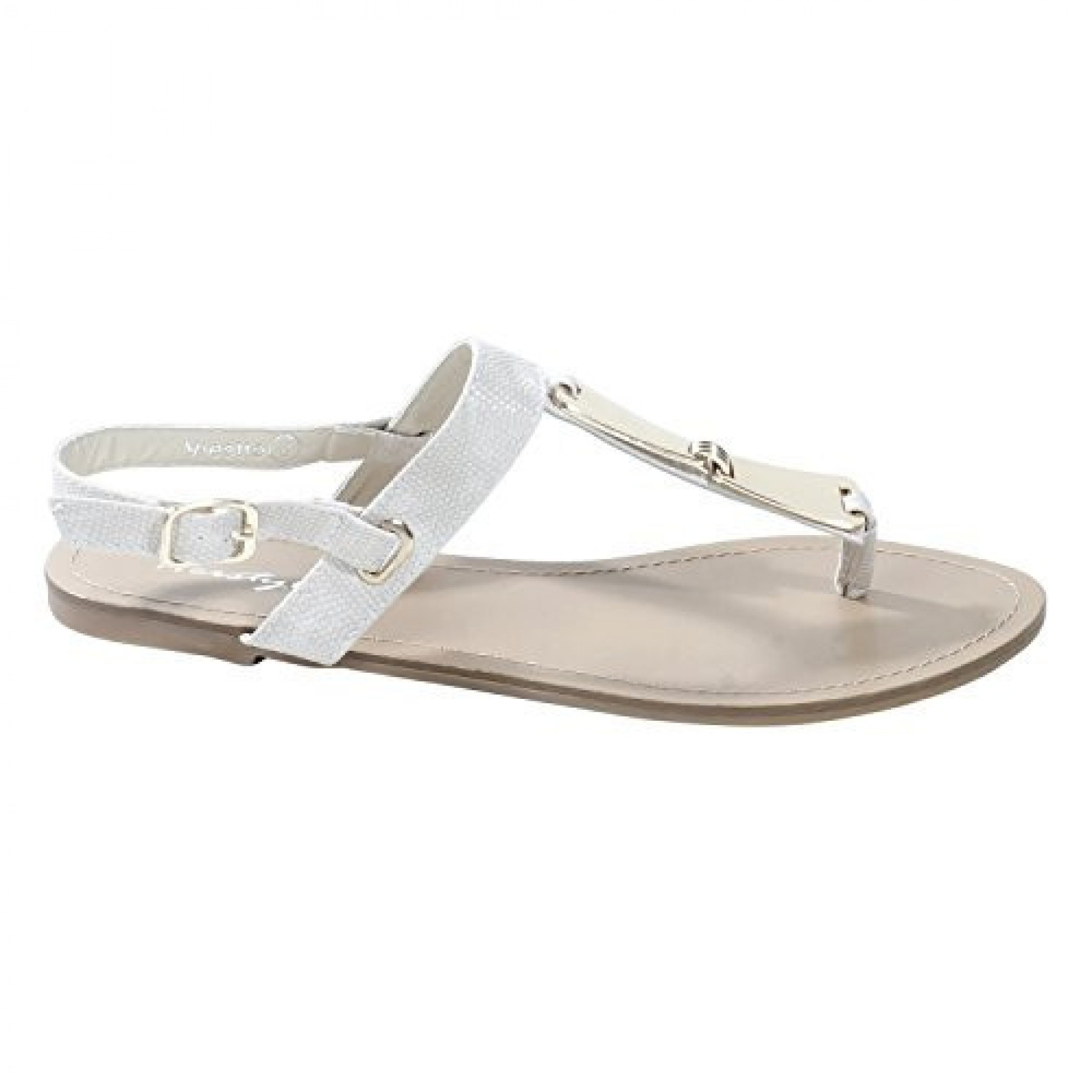 Women's Beige Manmade Viestte Textured Strap Sandal with Gold-Tone Accents