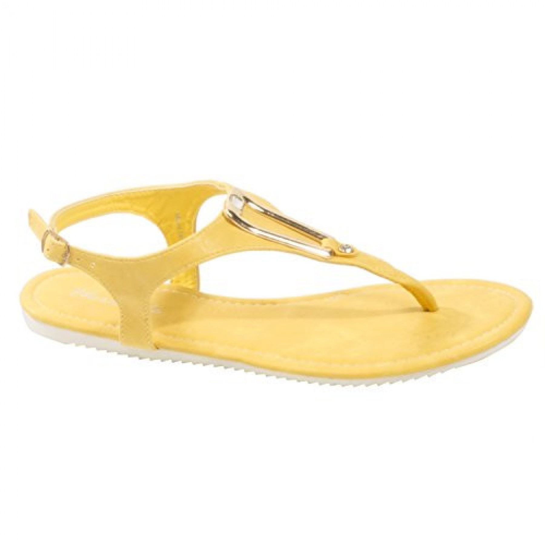 Women's Yellow Manmade Monttank T-Strap Sandal with Gold-Tone Adornment