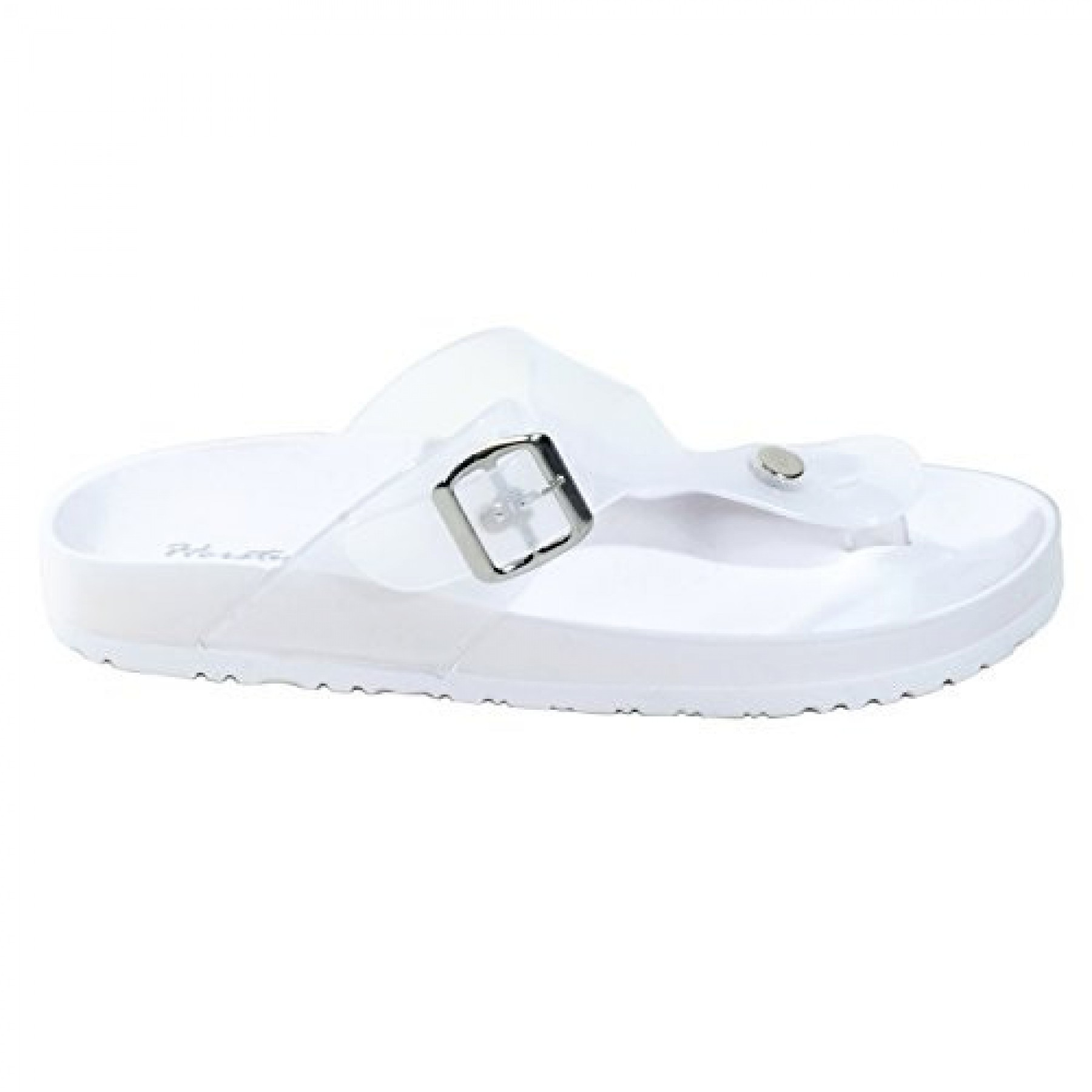 Women's White Manmade Baude Flat Jelly Sandal with Brilliant Buckle Accent