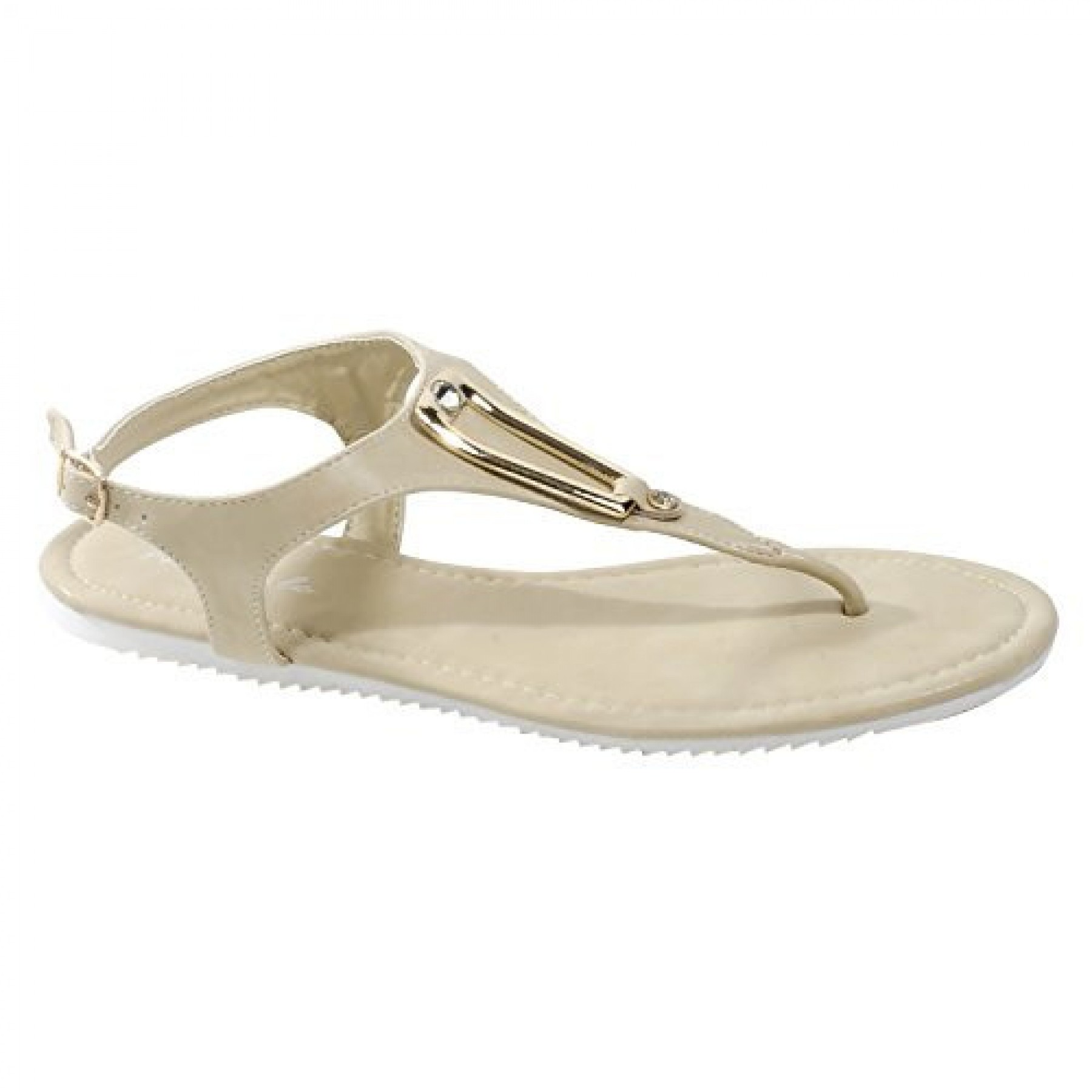 Women's Beige Manmade Monttank T-Strap Sandal with Gold-Tone Adornment