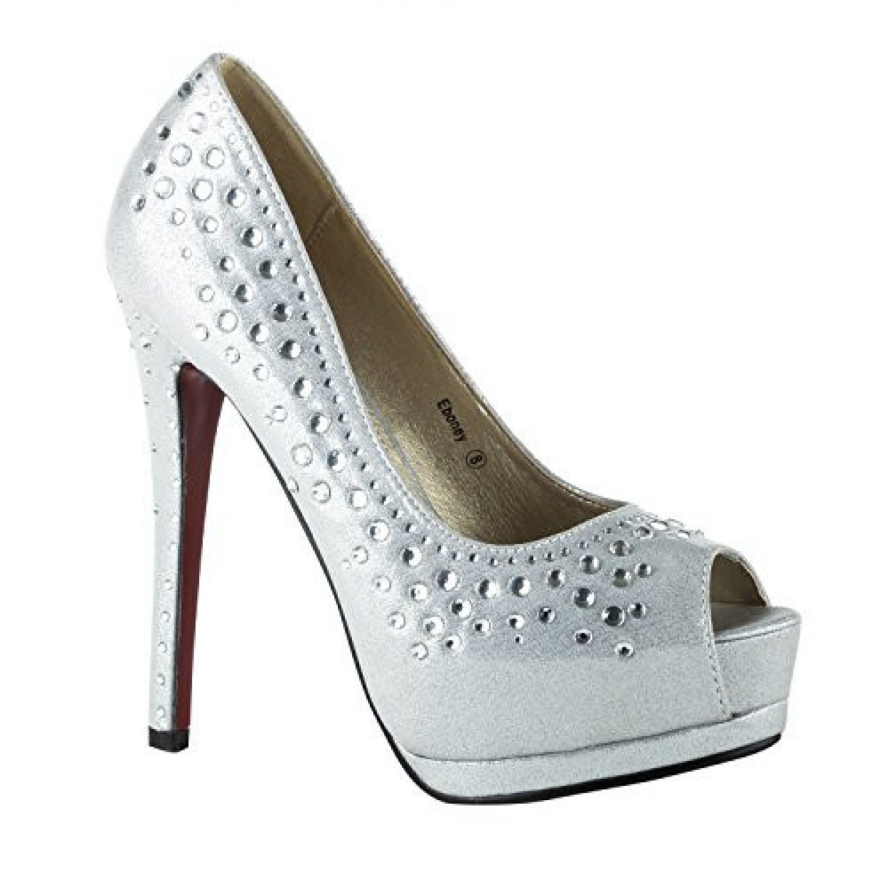 Women's Silver Eboney Manmade 5-inch Platfrom Peep-Toe Satin Pumps with Rhinestones