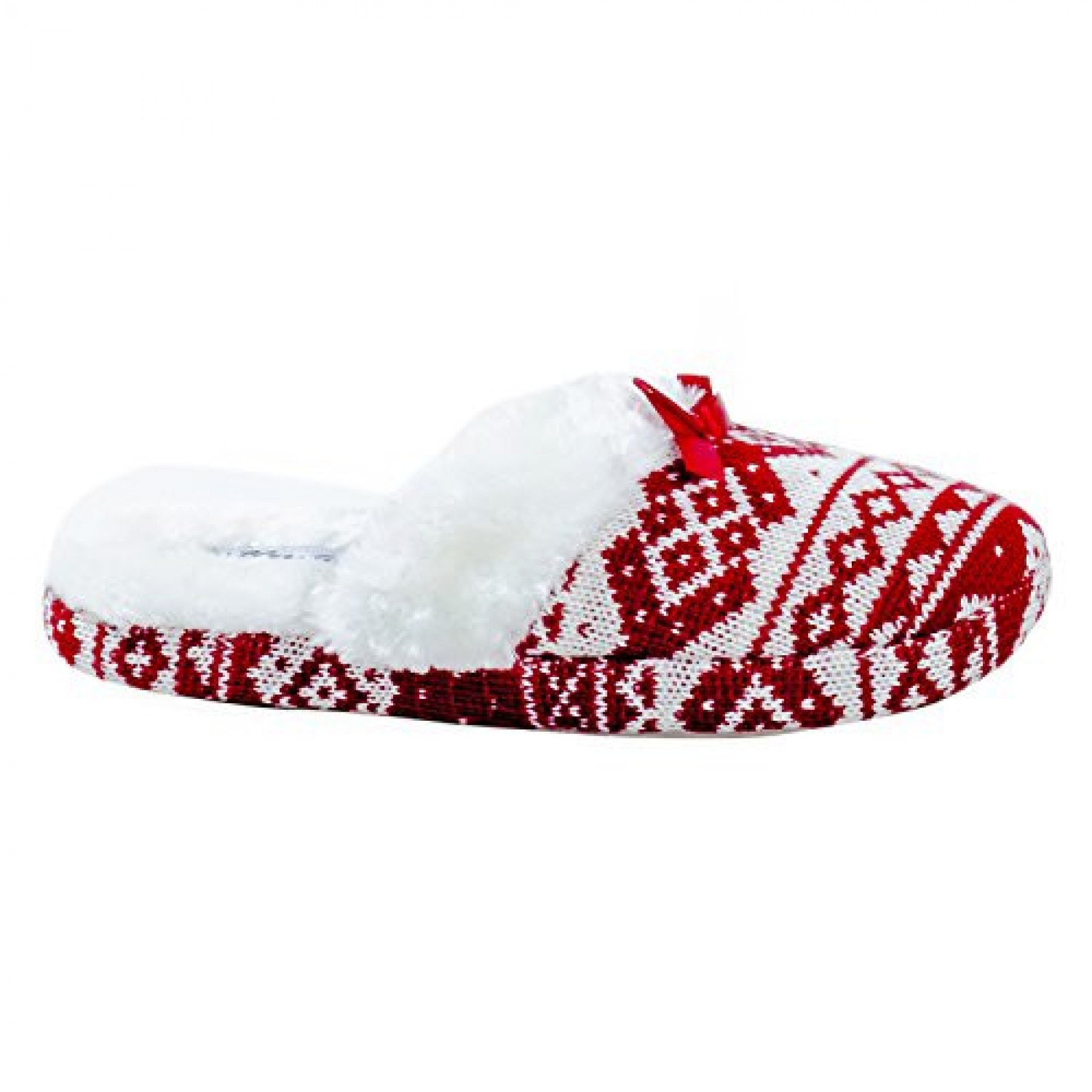 Women's Red White Settee Manmade Fuzzy House Slipper with Accent Bow