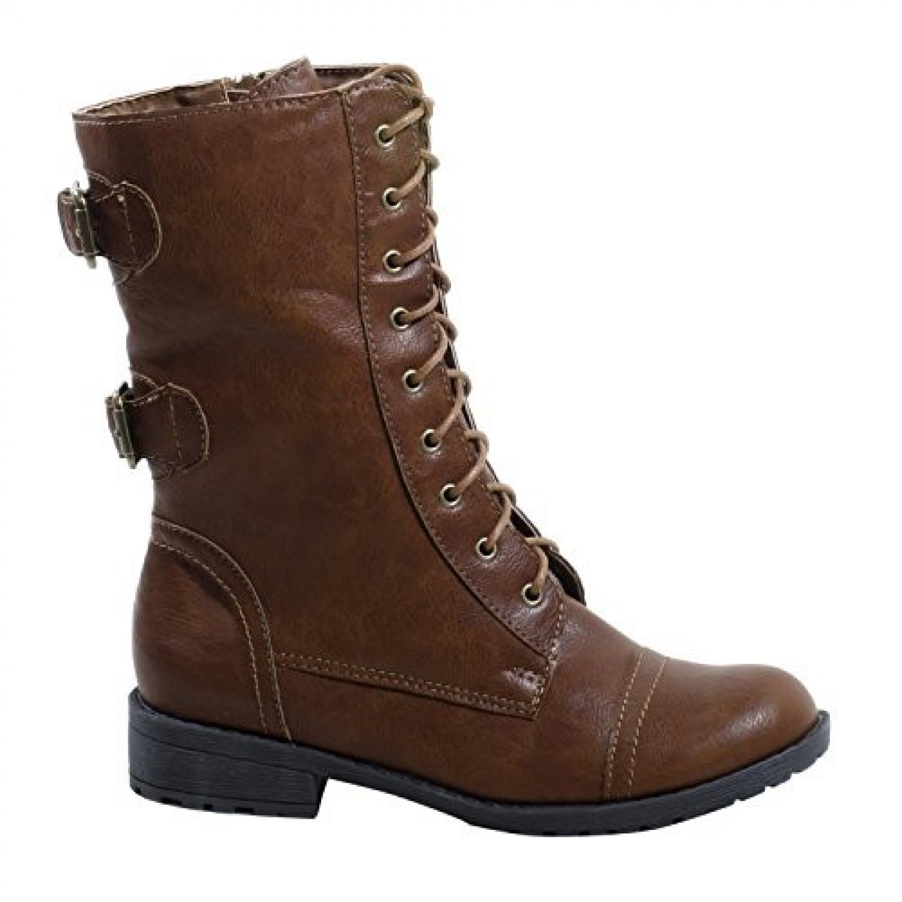 Women's Cognac Manmade Levanna Ankle Boot with Side Buckle Accents