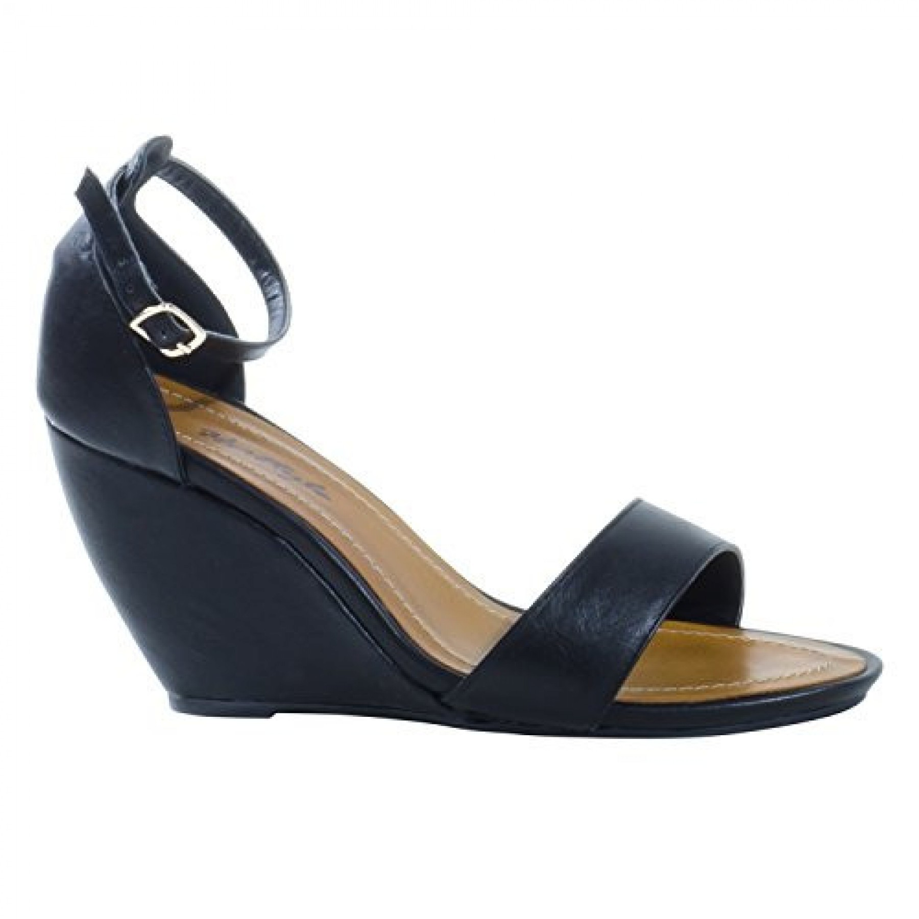 Women's Black Manmade Sneliee 3.5-inch Sleek Wedge Sandal