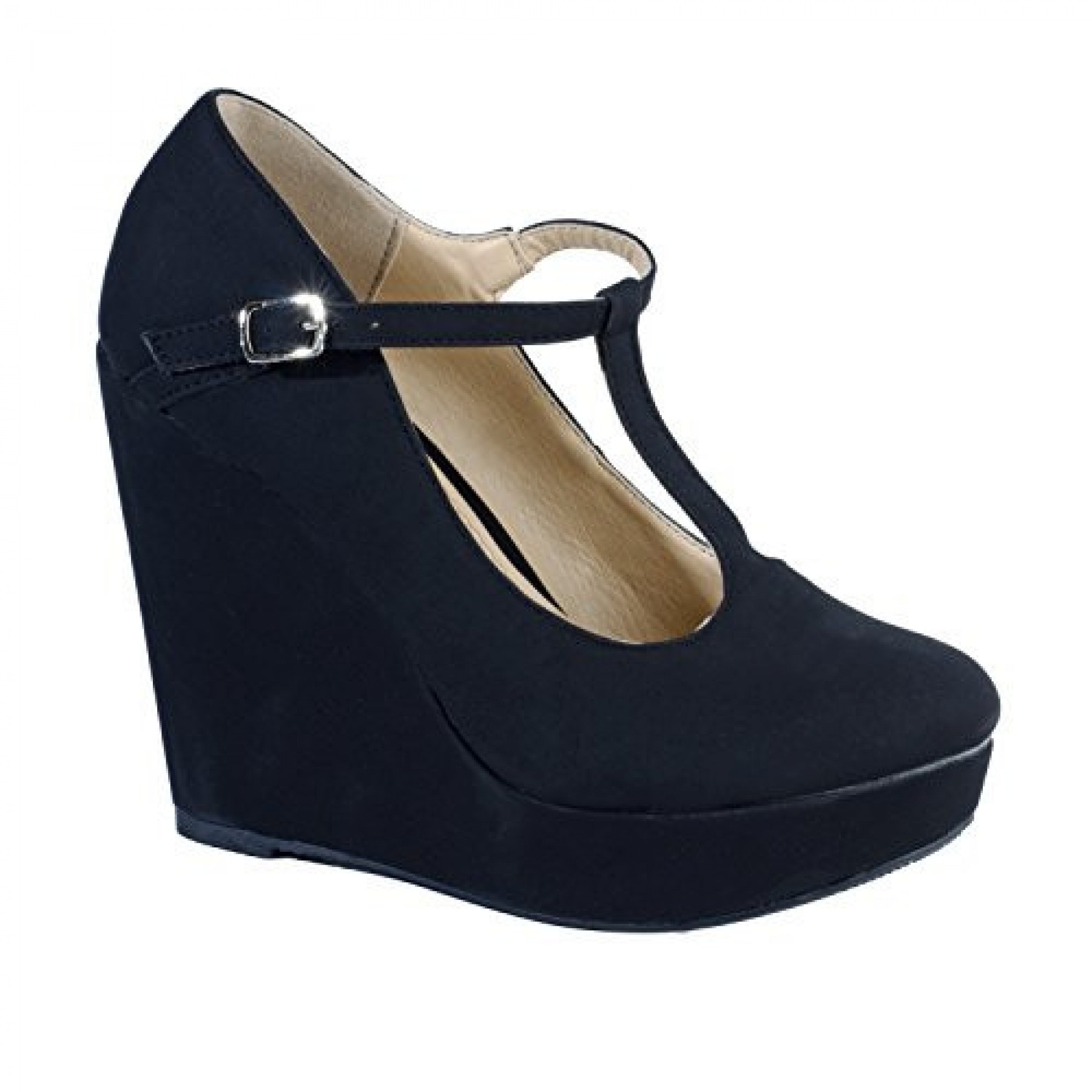 Women's Black Catie Manmade High T-Strap Wedge with Brilliant Buckle