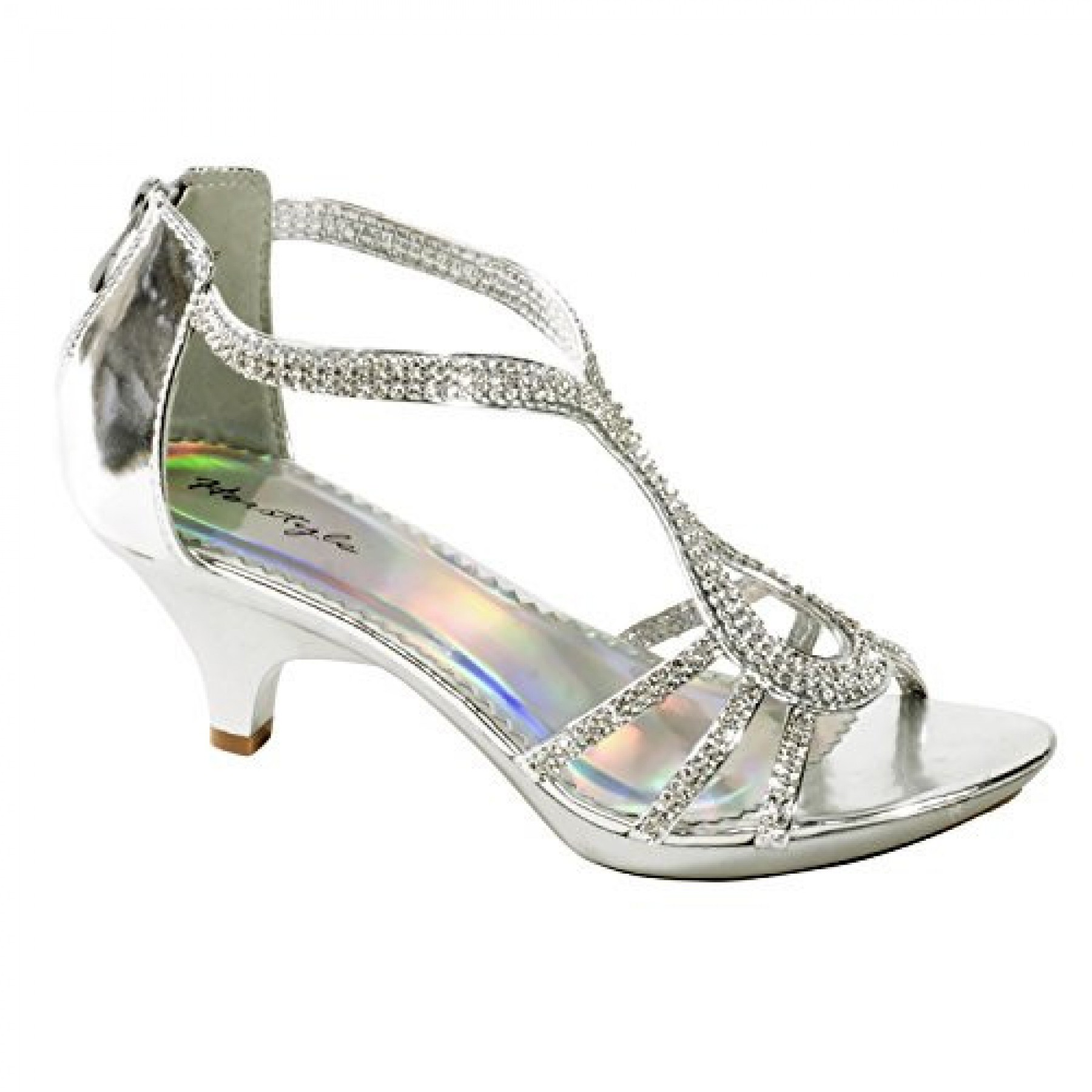 Women's Silver Manmade Maddyra Glowing Low-Heeled Sandal with Rhinestone Straps