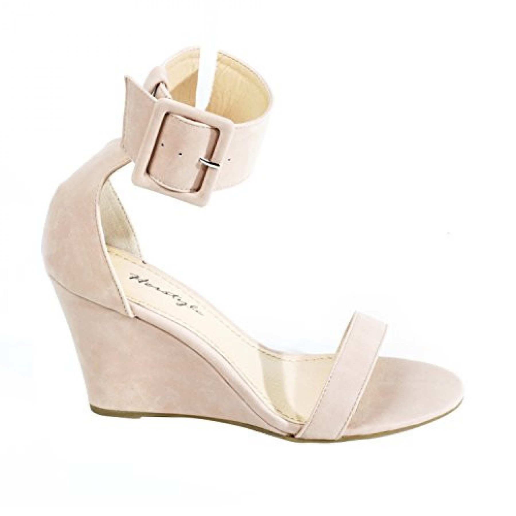 Women's Mauve Madie Manmade Wedge Sandal with Generous Ankle Buckle
