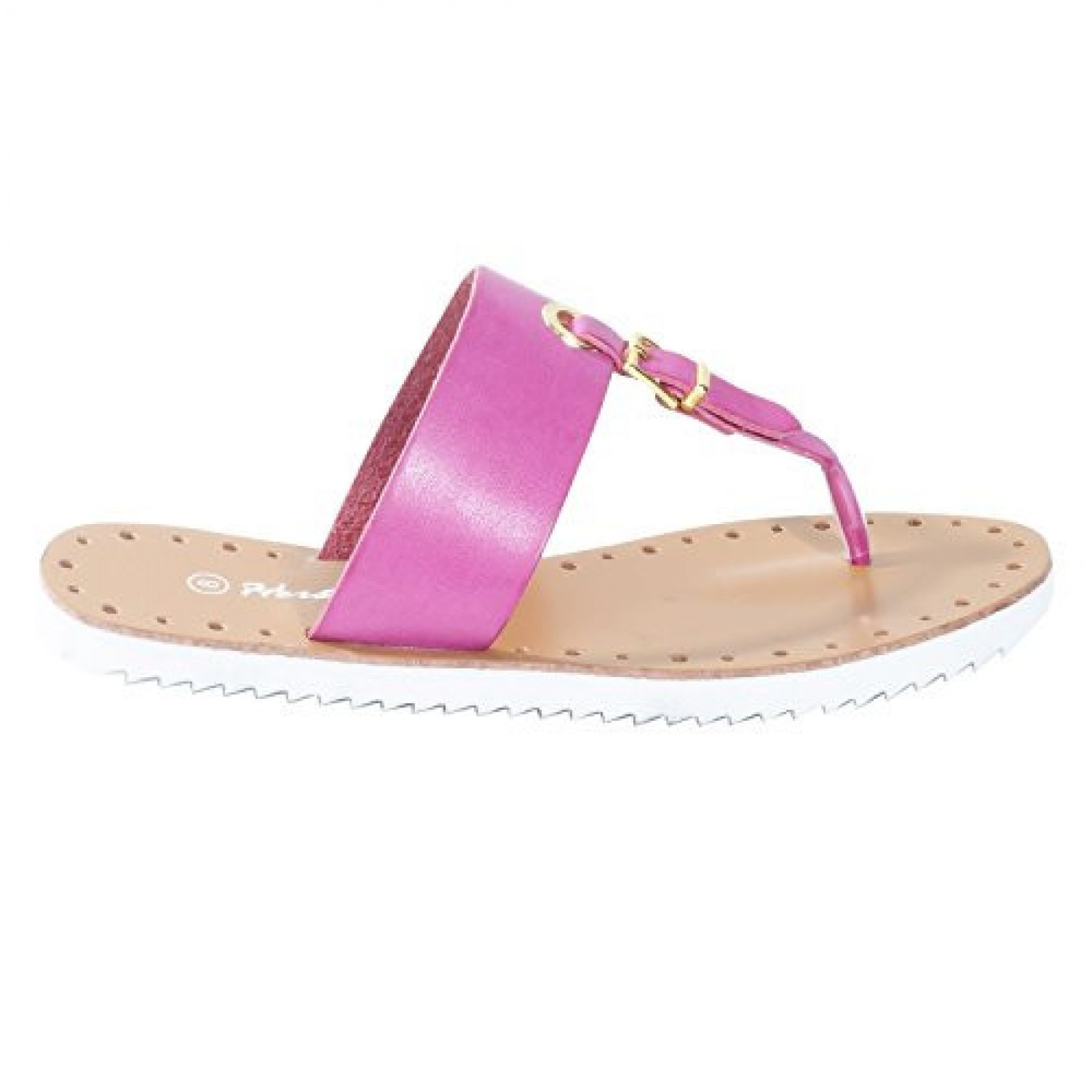 Women's White Manmade Fizzing T-Strap Sandal with Bright Buckle Accent
