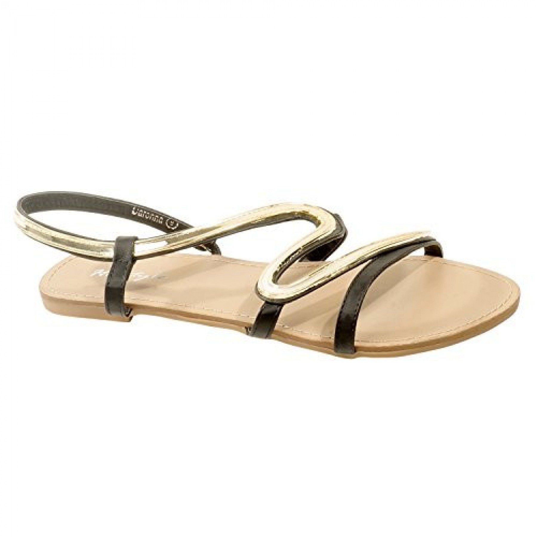 Women's Black Manmade Daronna Striking Slide Sandal with Sinuous Gold-Tone Ornament