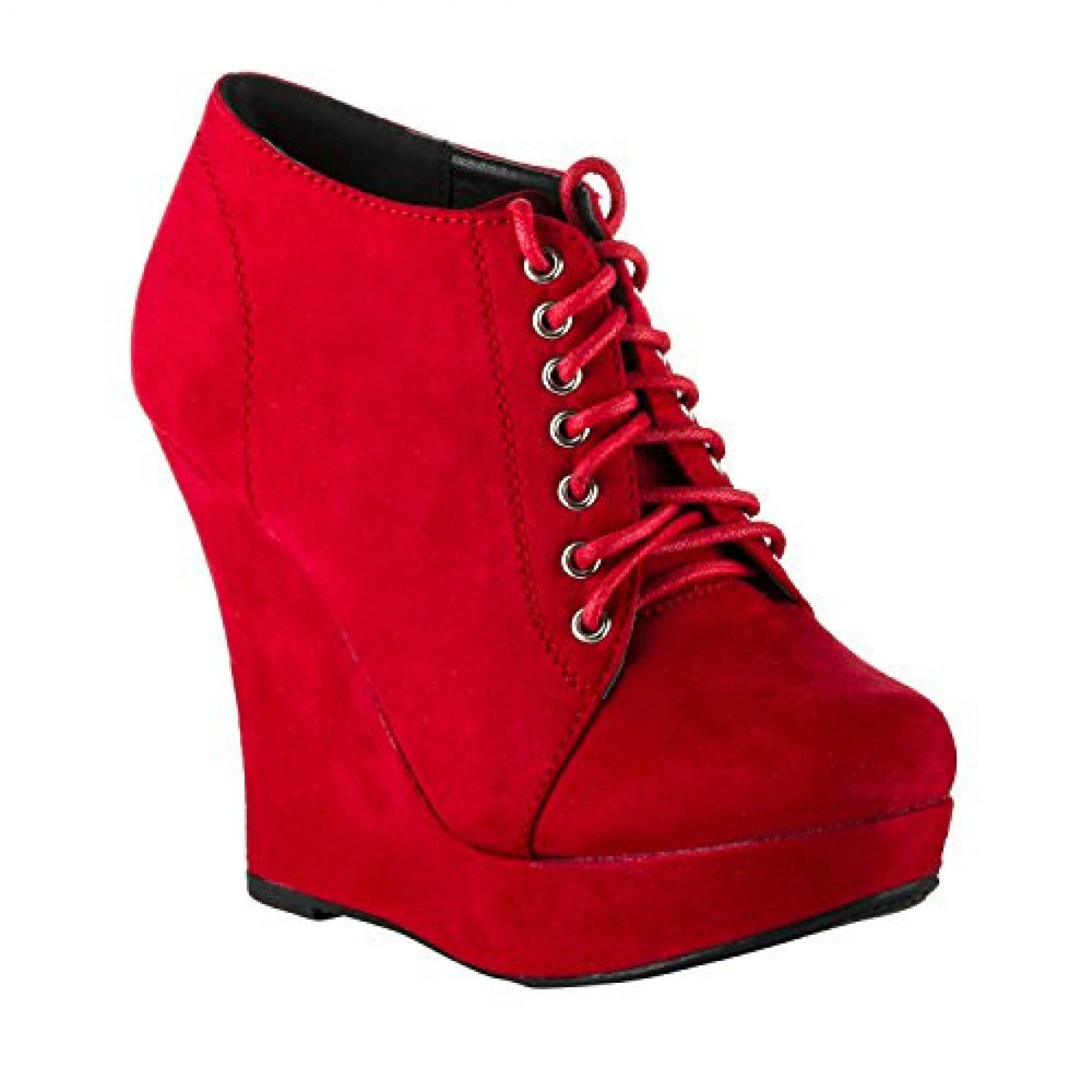 Women's Red Krisella Stylish Manmade Wedge Bootie with Lace-Up Front