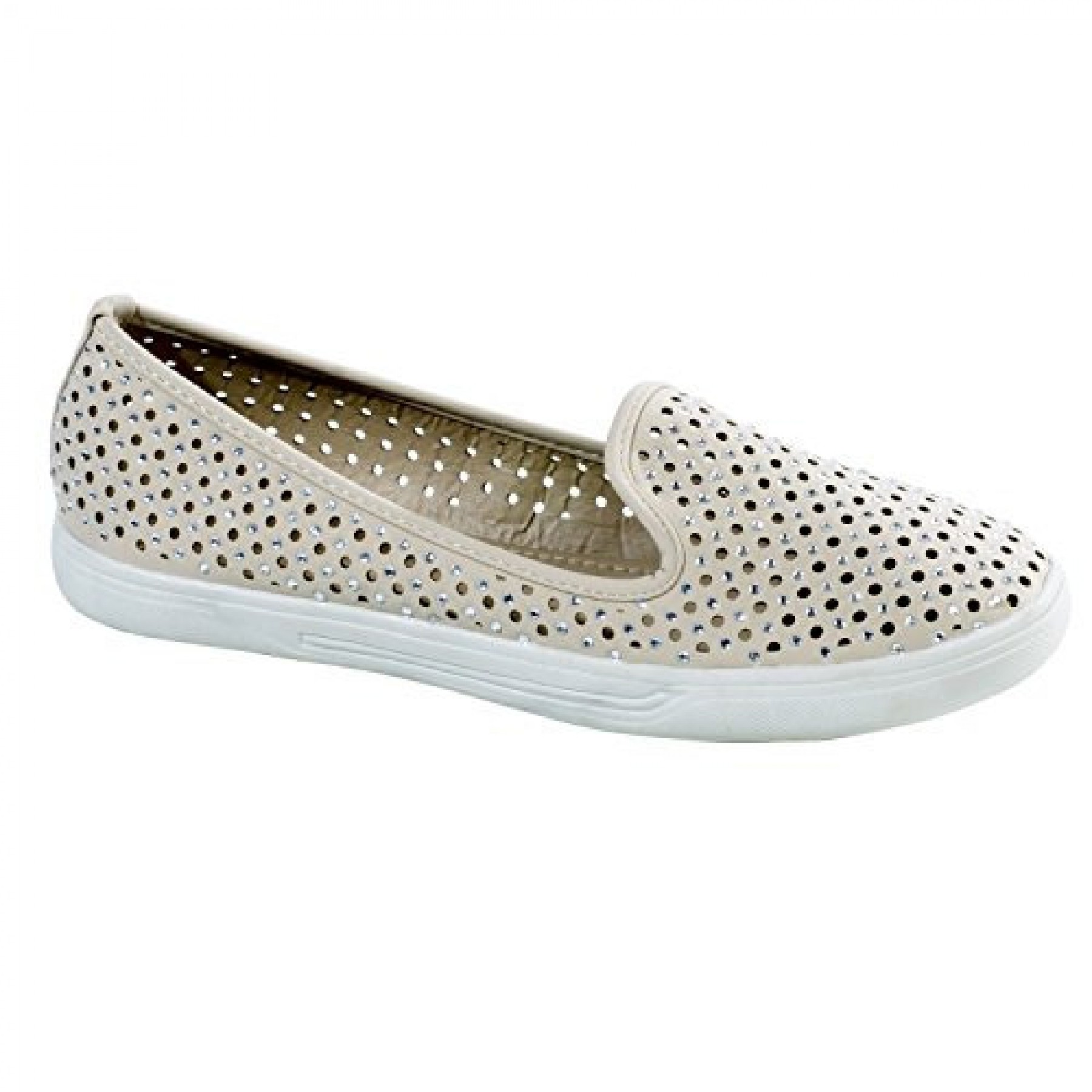 Women's Beige Inkaa Manmade Flats with Jeweled Mesh Upper