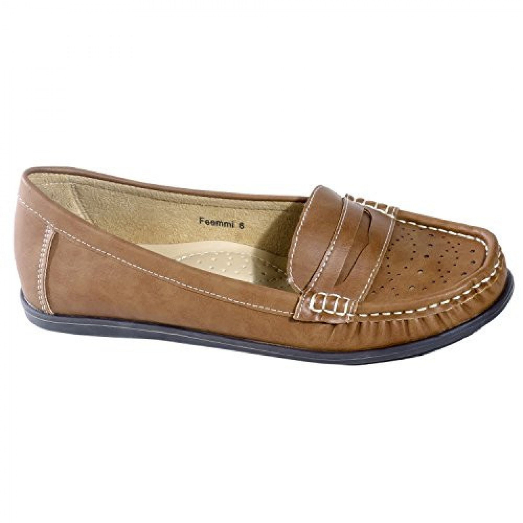 Women's Cognac Manmade Feemmi Loafer Style Flat with Contrast Stitching