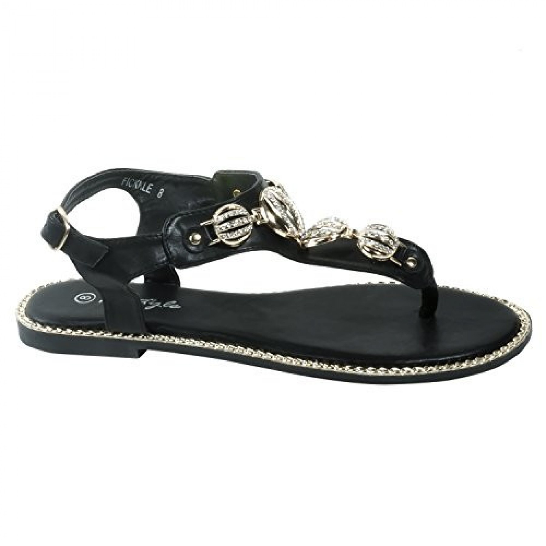 Women's Black Manmade Fickkle T-Strap Sandal with Bejeweled Gold-Tone Metallics