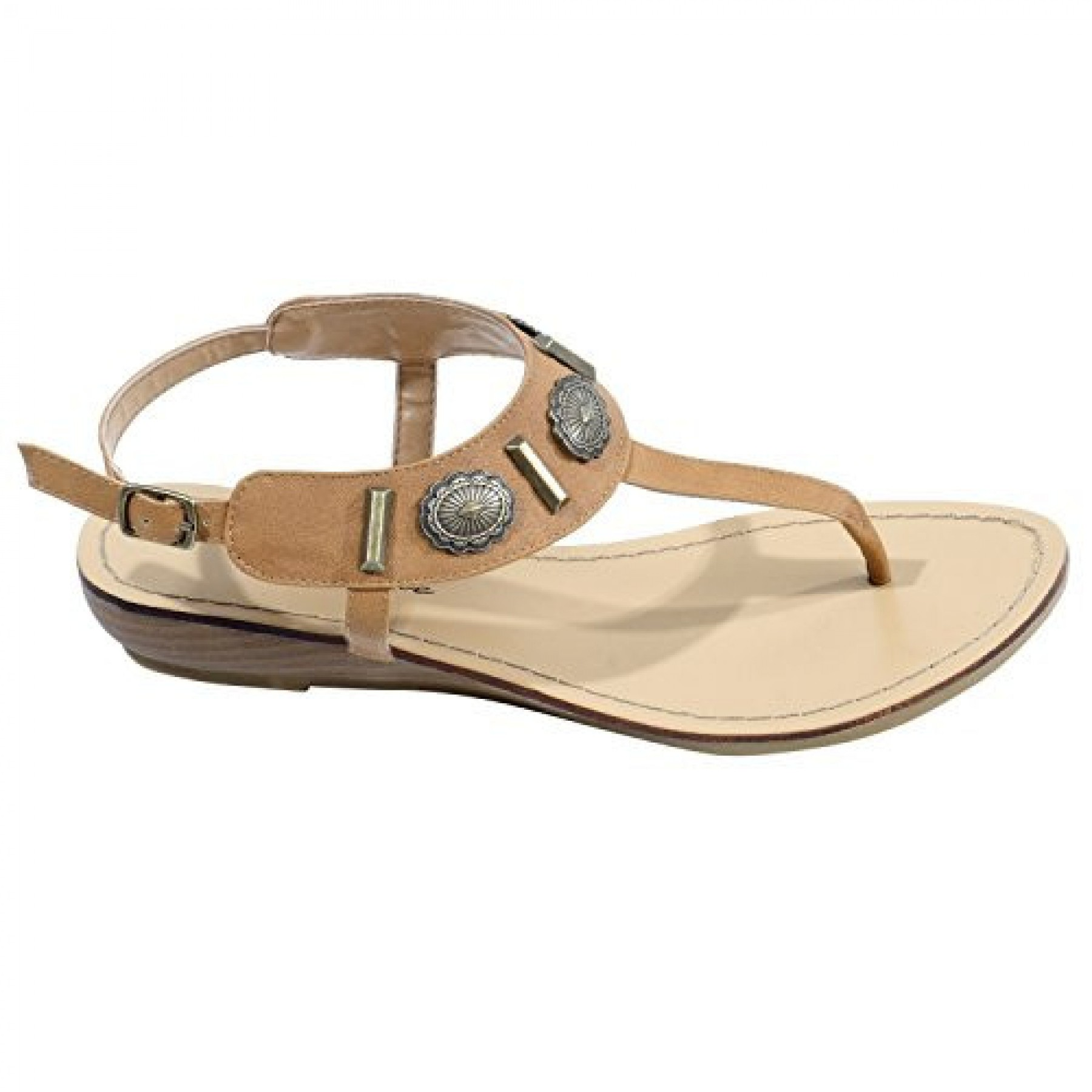 Women's Cognac Veranda Manmade Flat Sandal with Flirty Metallic Accents