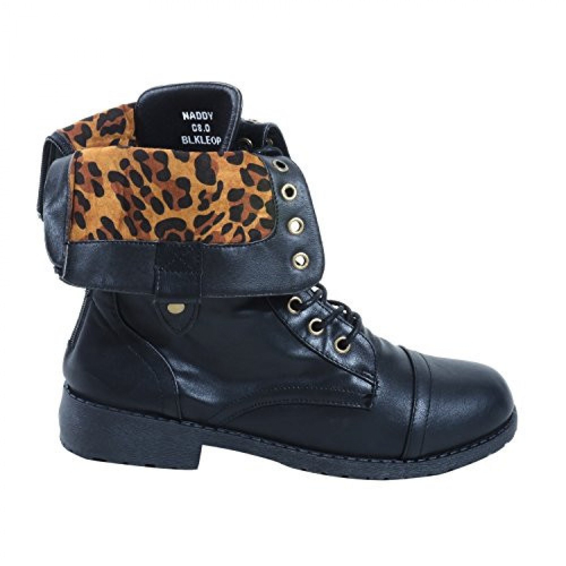 Women's Black Leopard Manmade Naddy Combat Boot with Vibrant Fold-Down Liner