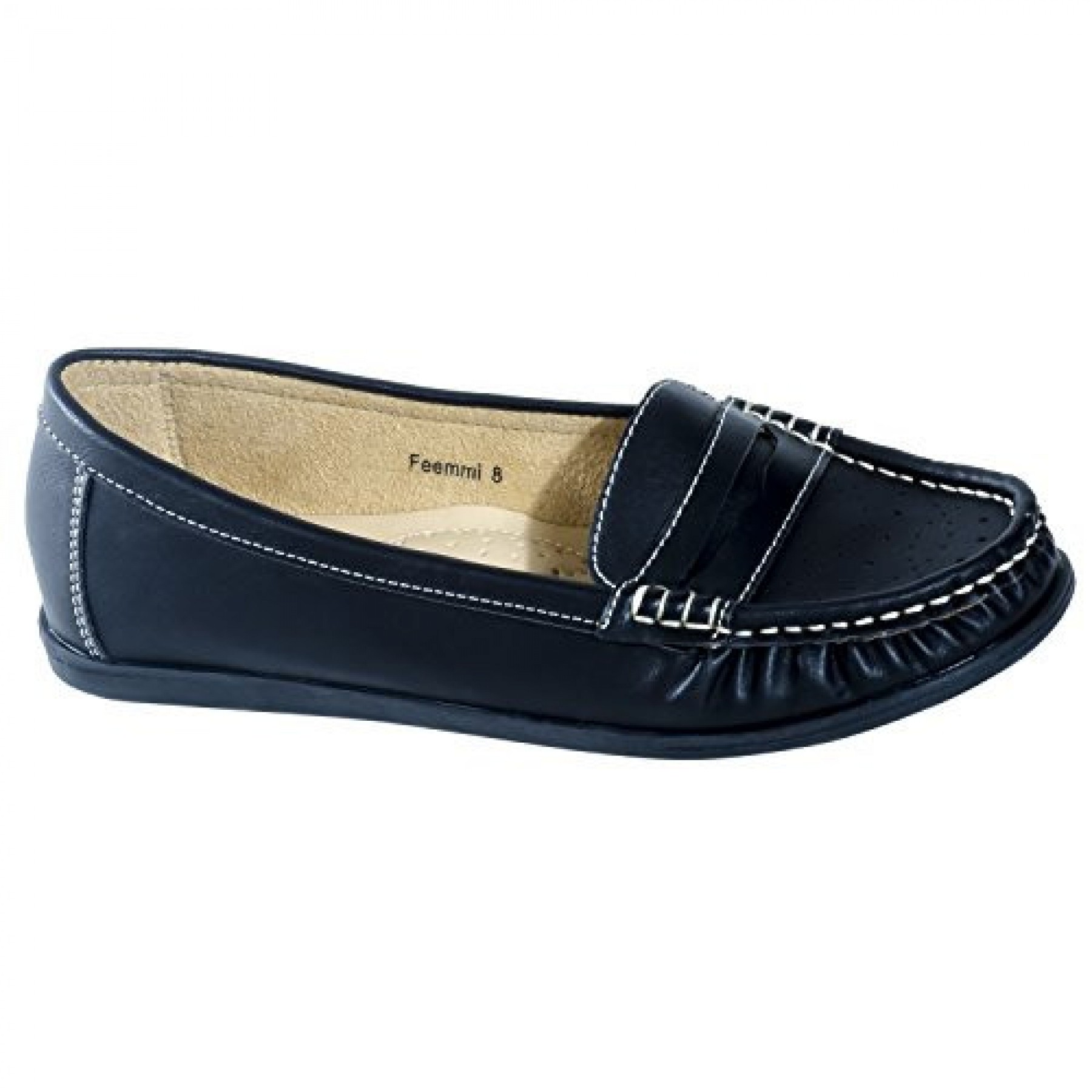 Women's Black Manmade Feemmi Loafer Style Flat with Contrast Stitching