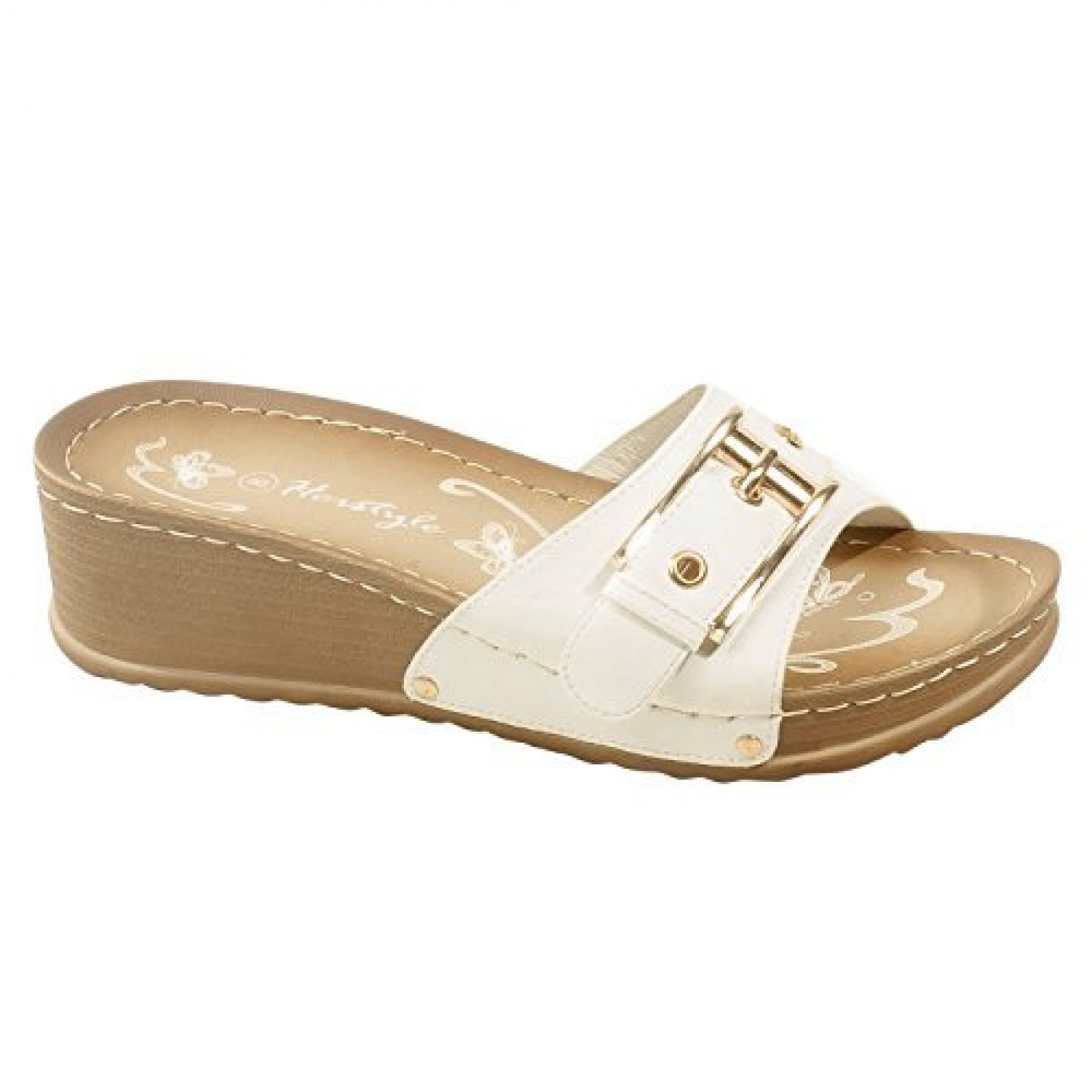 Women's White Manmade Jillyy Slide Sandals with Gold-Tone Toe Buckle