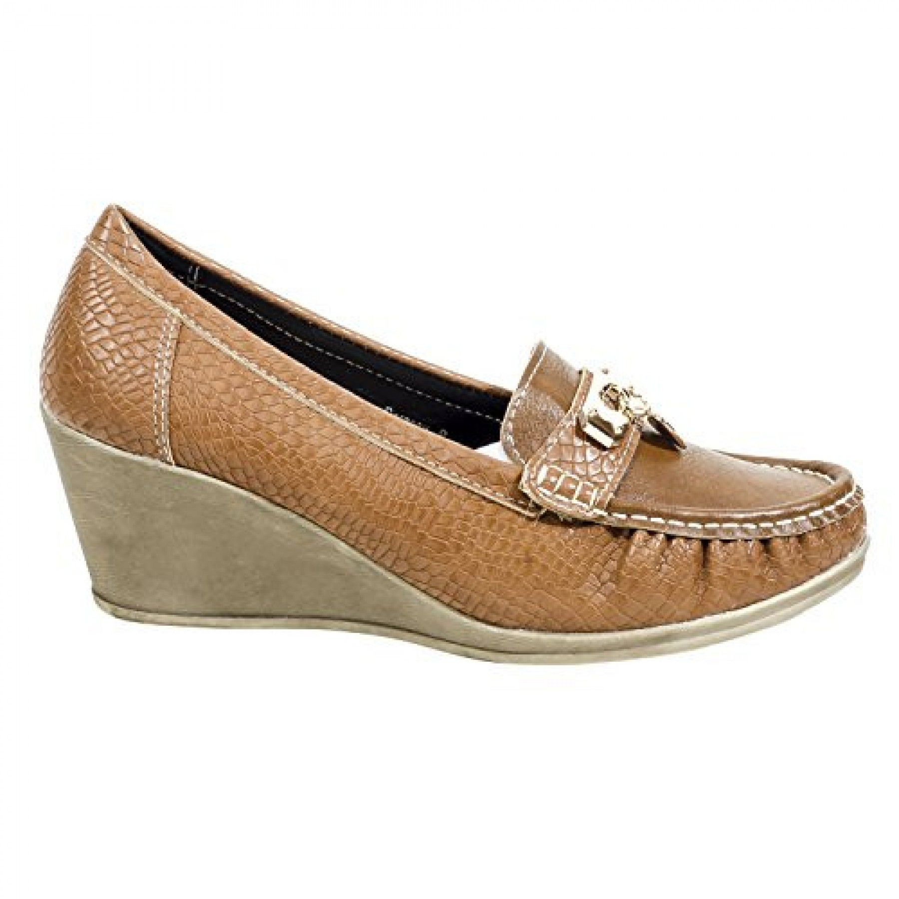 Women's Cognac Manmade Dorsaay Loafer Wedge with Gold-Tone Charm