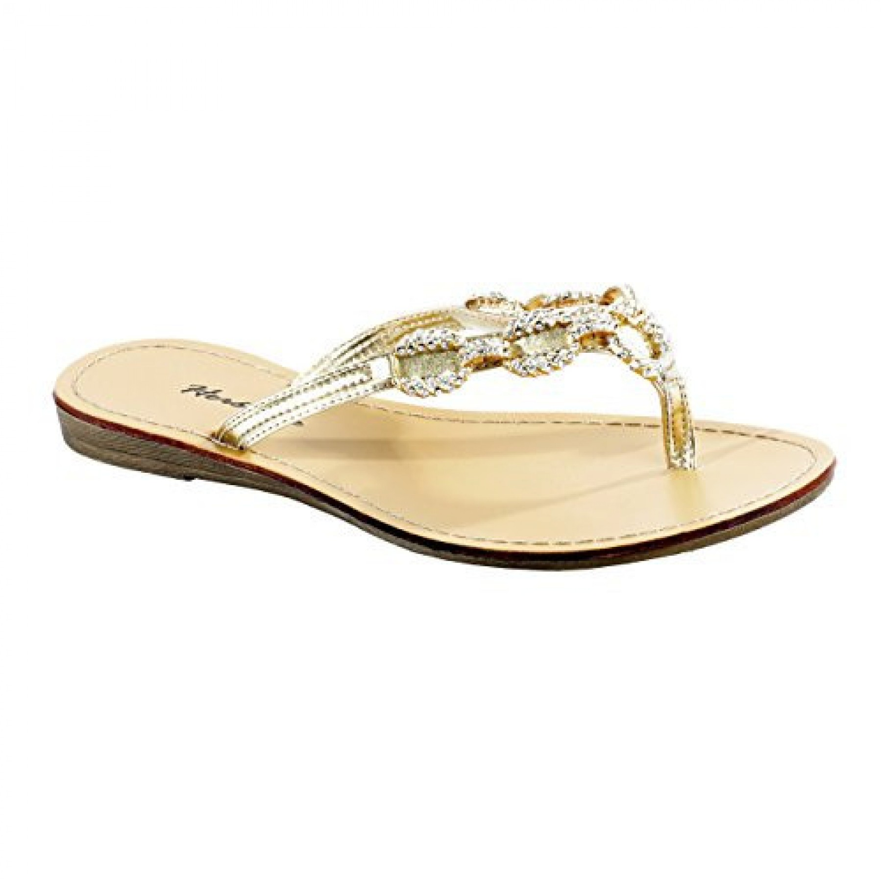 Women's Gold Janiesa Manmade Flat Thong Sandal with Glowing Jeweled Chain