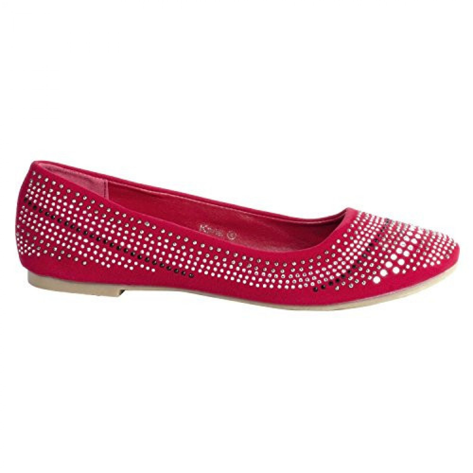 Women's Red Kana Manmade Chic Ballet Flat with Glittering Jewel Design