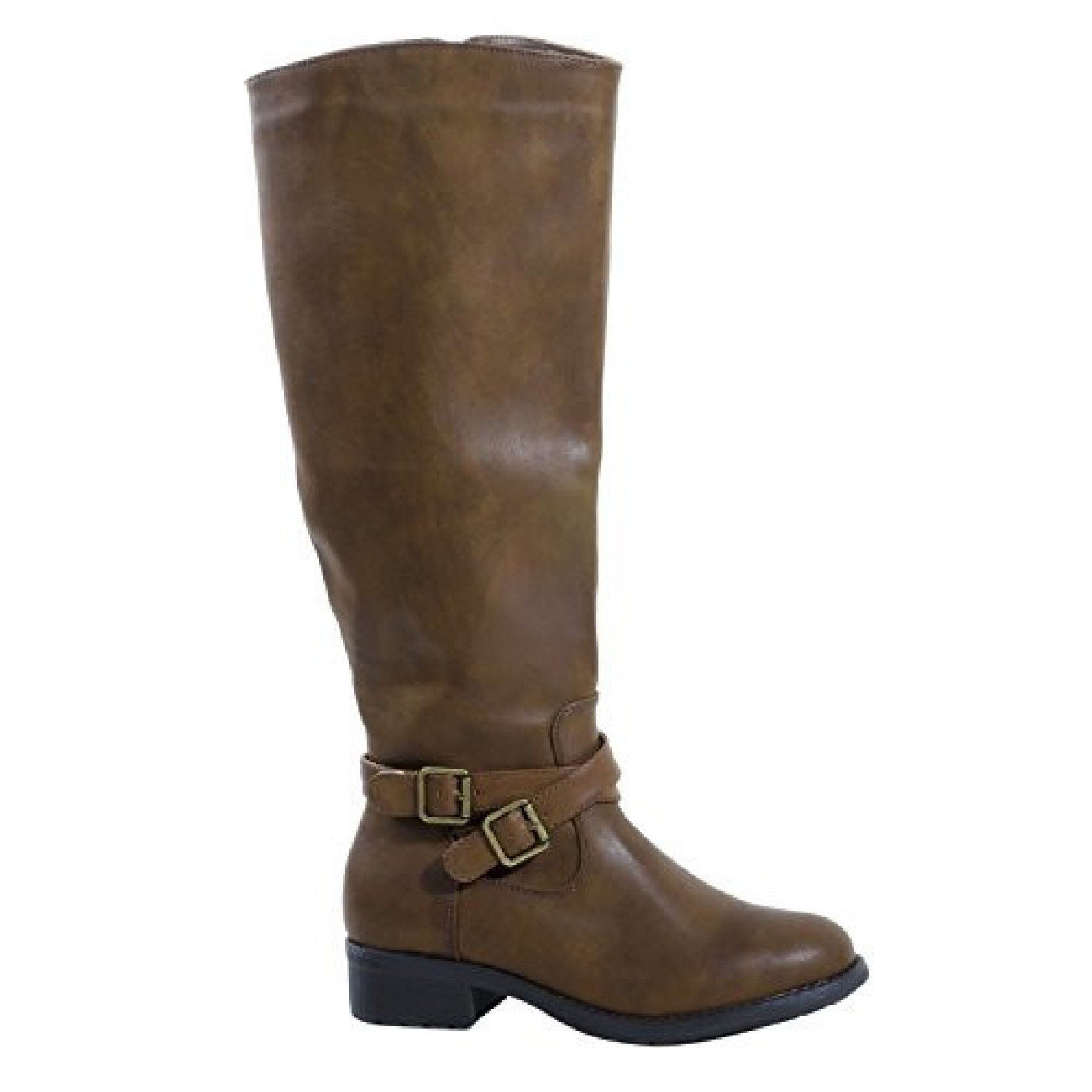 Women's Brown Manmade Rassppy Riding Boot with Low Slung Ankle Buckles