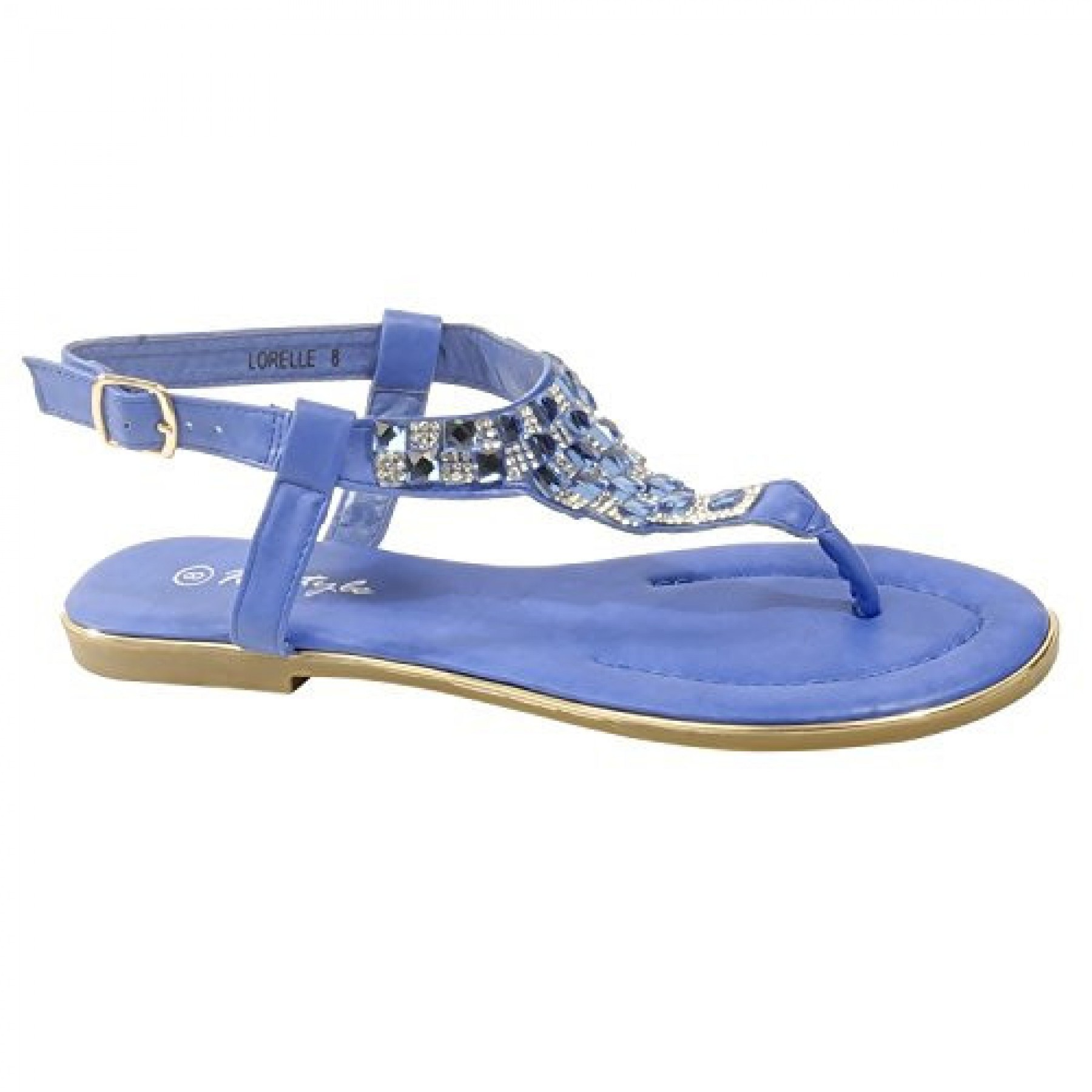 Women's Royal Blue Manmade Lorelle Thong Sandal with Patterned Jewel Vamp