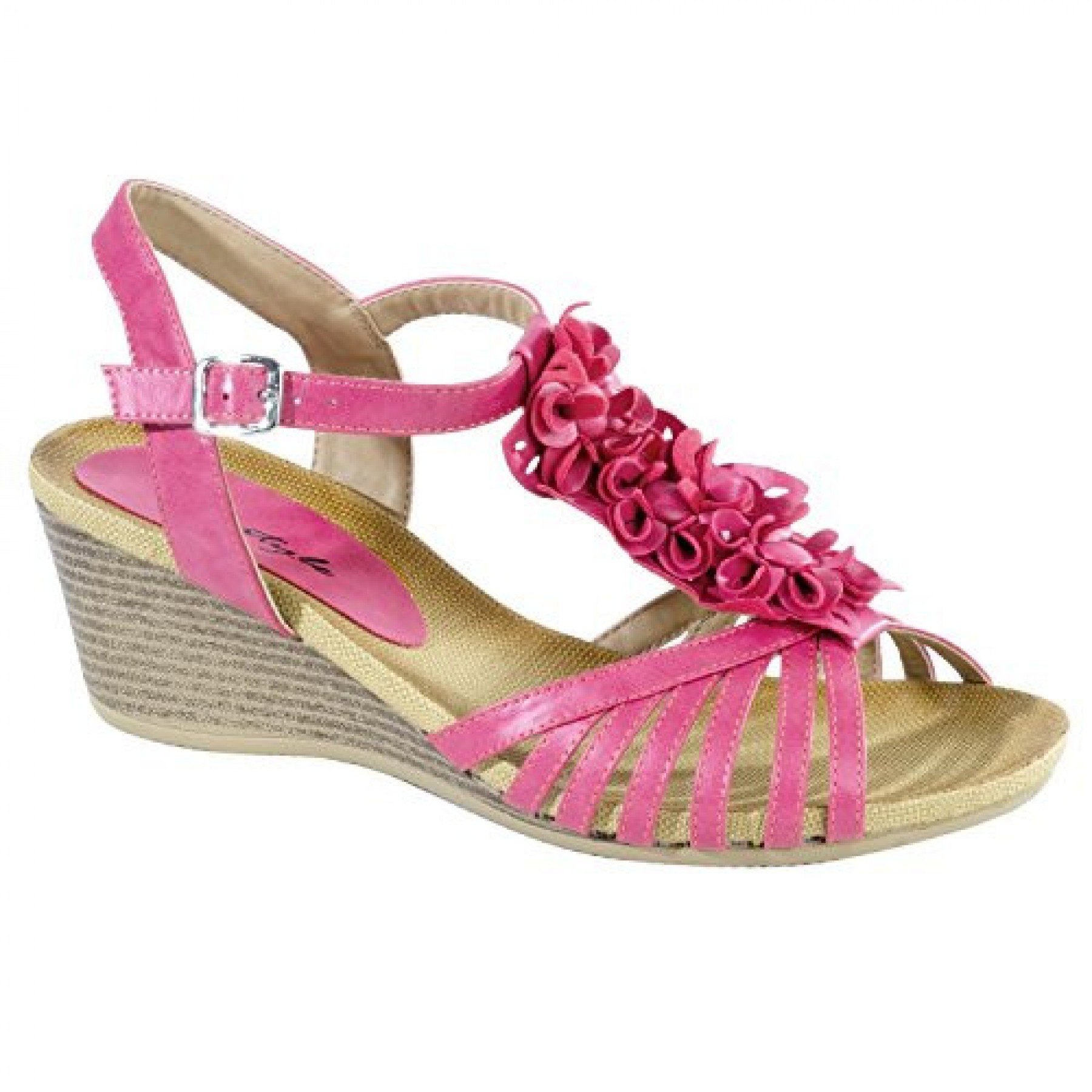 Women's Coral Caroica Manmade Wedge Sandal with Gorgeous Flowered Vamp