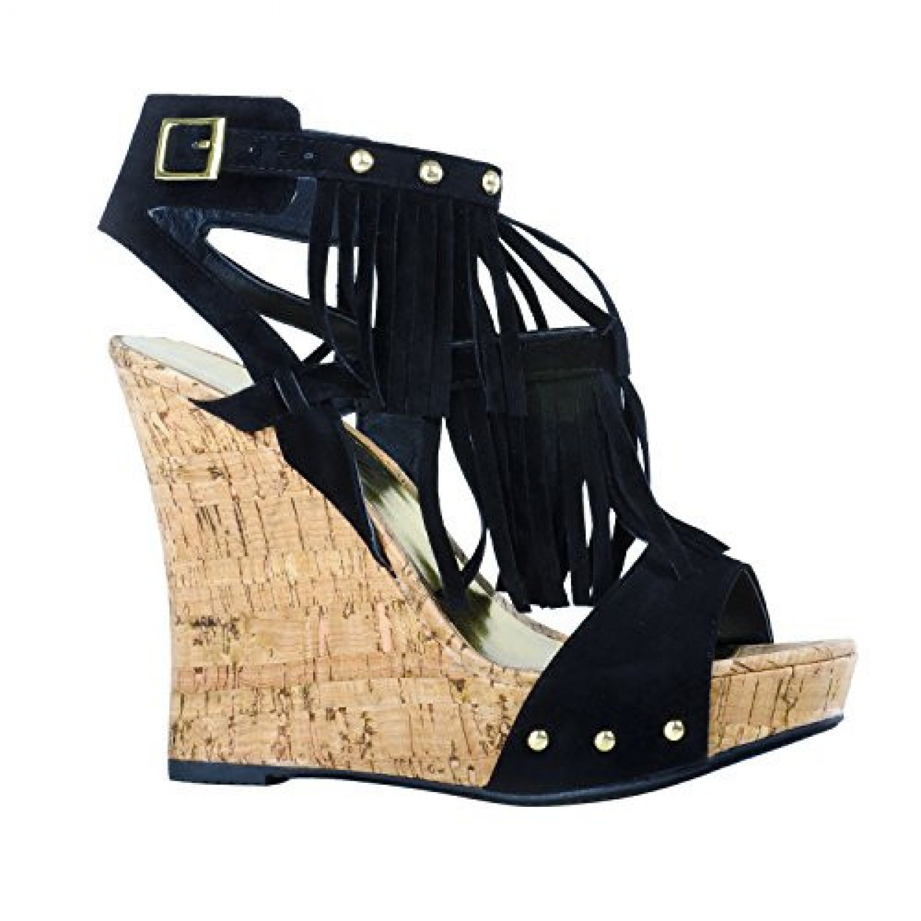 Women's Black Meekaa Fringed Manmade 5-inch Wedge Sandal with Studded Straps