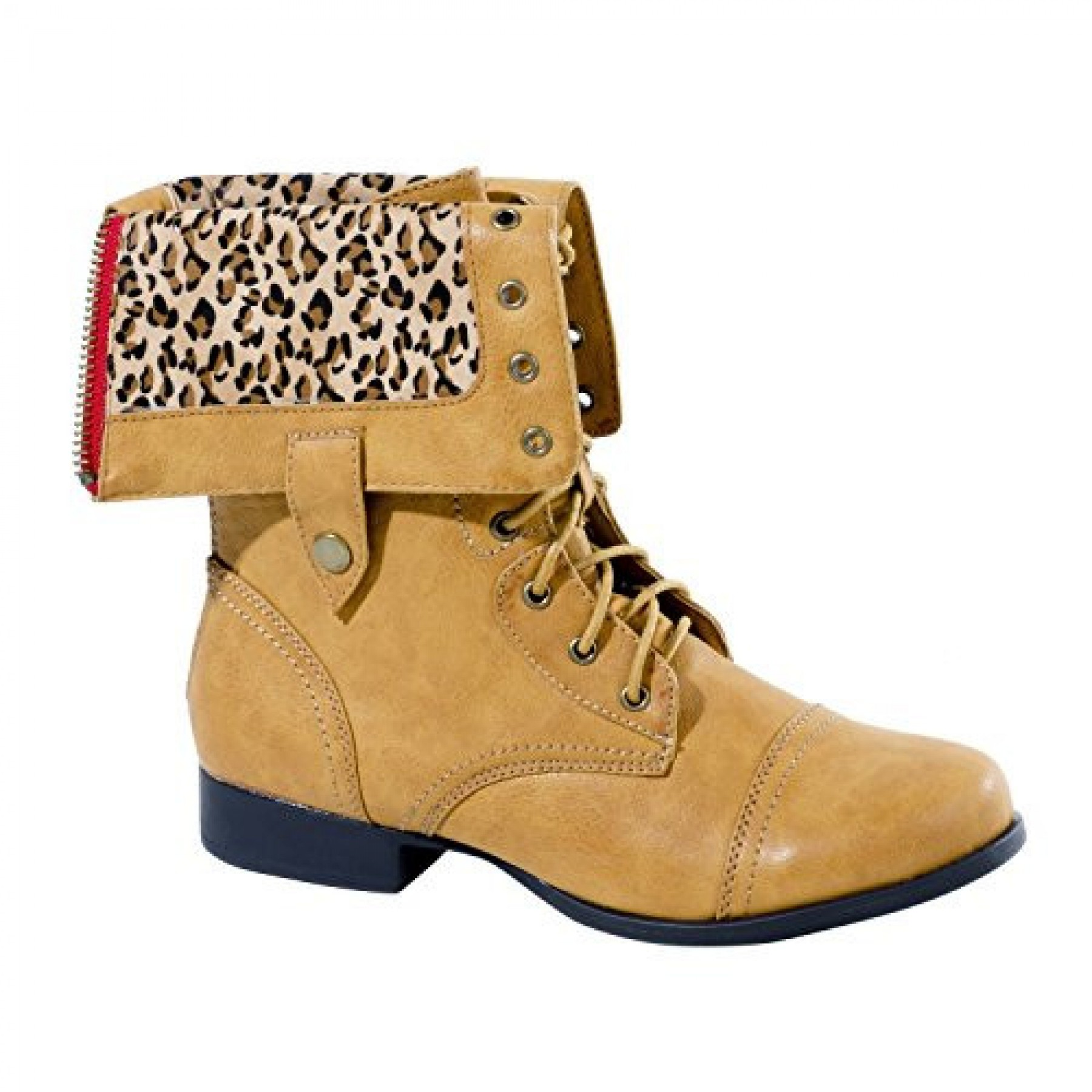 Women's Cognac Knight Manmade Combat Boot with Animal Print Fold-Down Liner