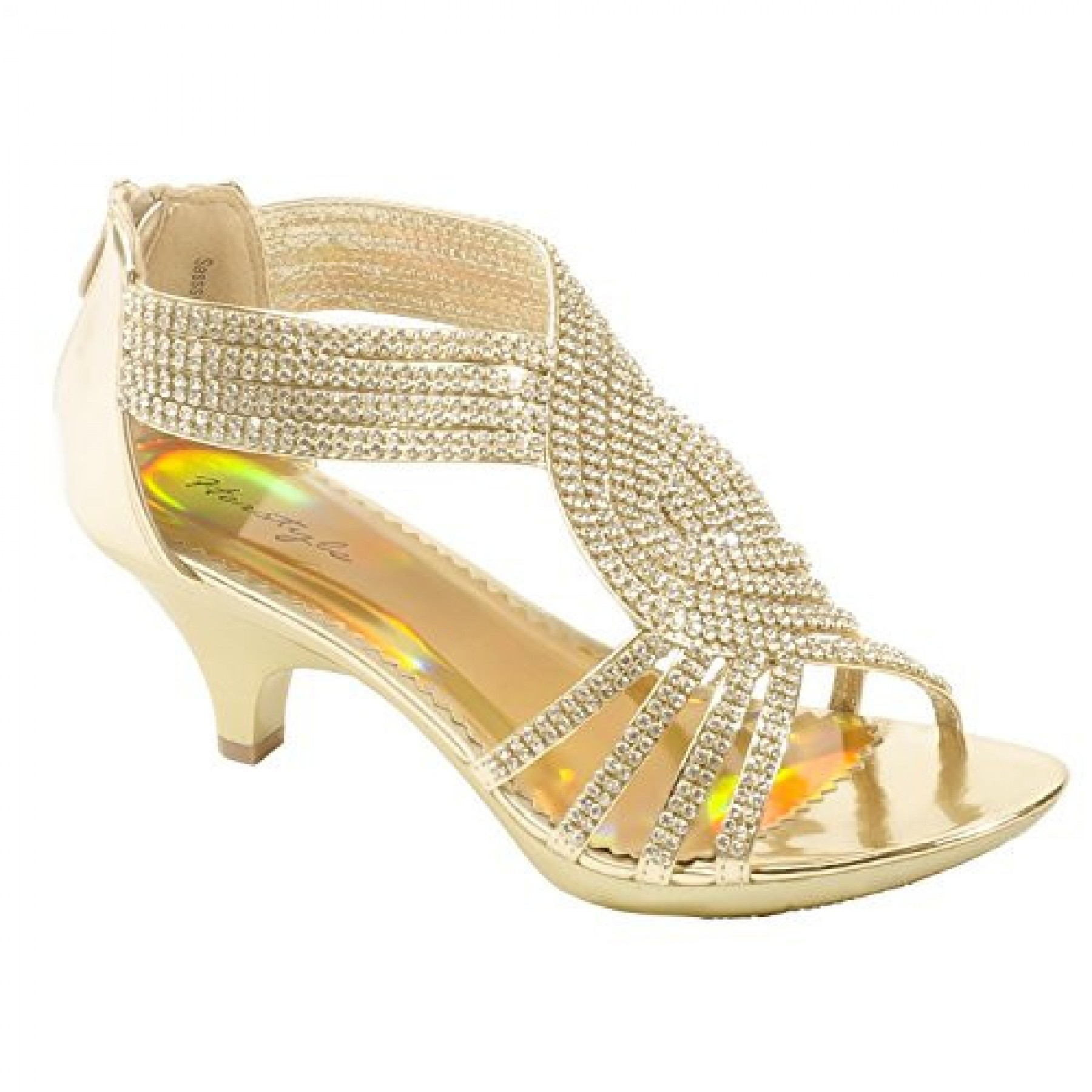 Women's Gold Manmade Sasssy Low Heeled Sandals with Rhinestone Enrobed Vamp