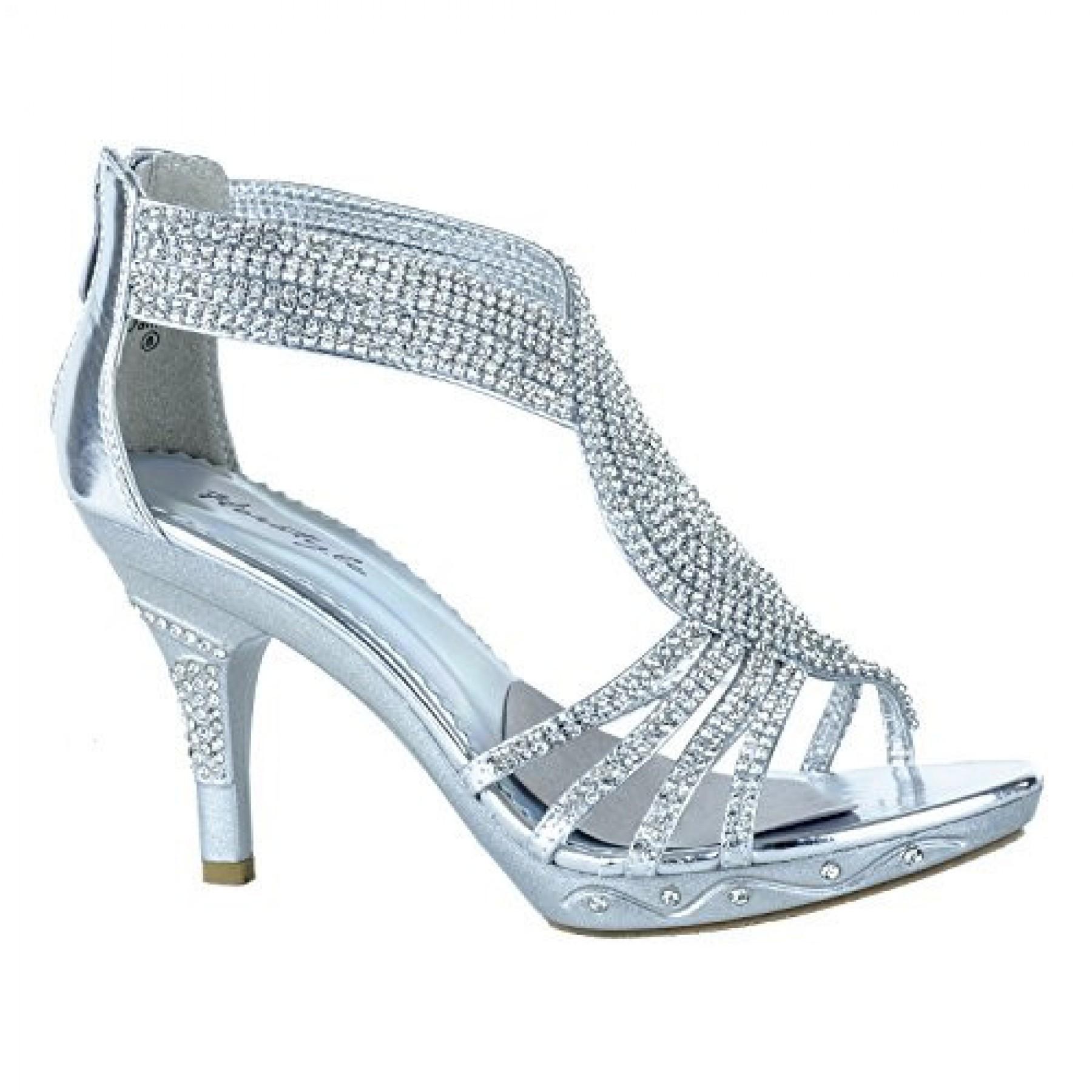 Women's Silver Dalinda 3.5-inch Pump Sandal with Sparkling Rhinestone T-Strap