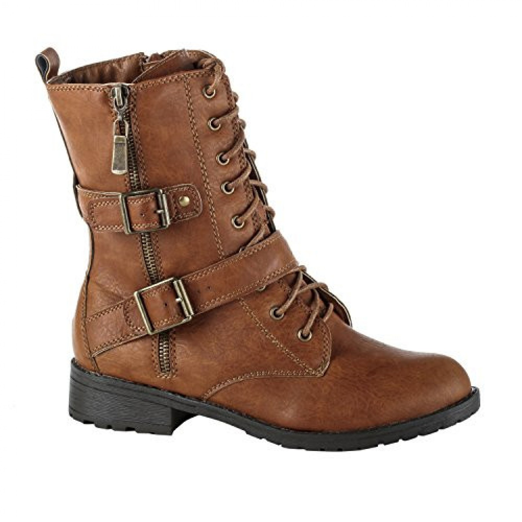 Women's Cognac Schella Manmade Buckled Combat Boot with Striking Side Zipper