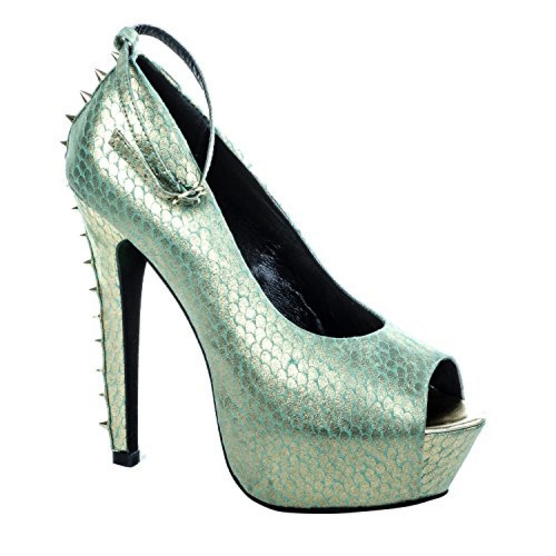 Women's Turquoise Gold Tullisa Manmade 6-inch Stiletto Peep Toe Metallic Print Pumps