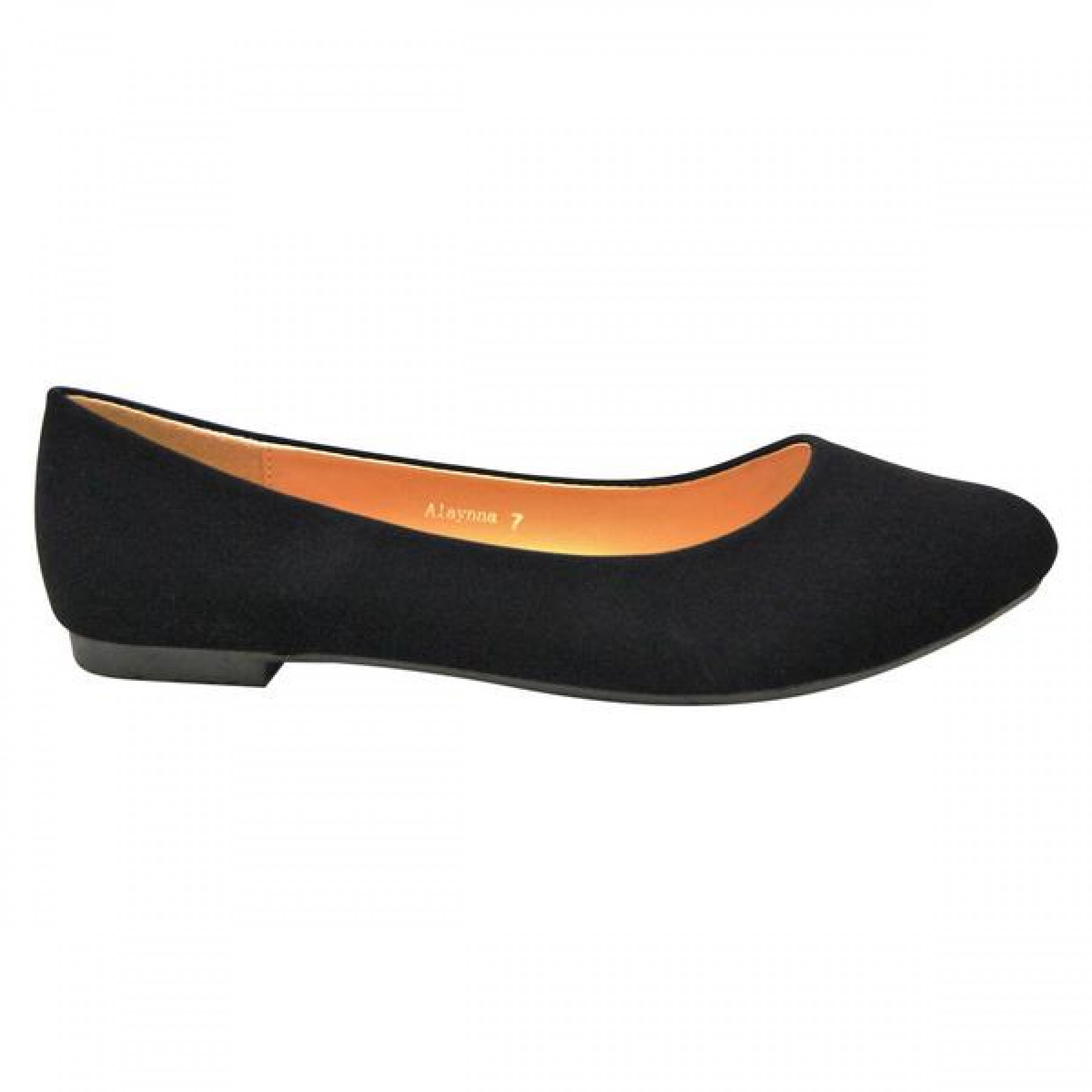 Women's Black Alaynna Smooth Pump Flat with Gently Pointed Toe